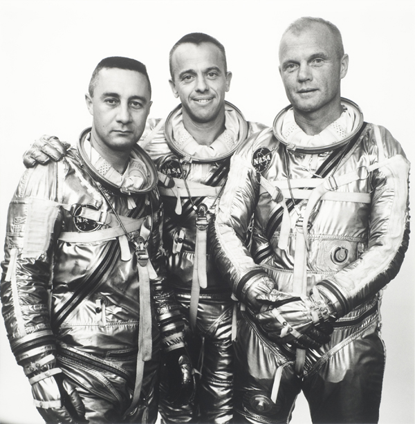 Captian Gus Grissom, Commander Alan Shepherd, Lt. Col. John Glenn, Astronauts, Langley Field, Virginia, 3-31-61