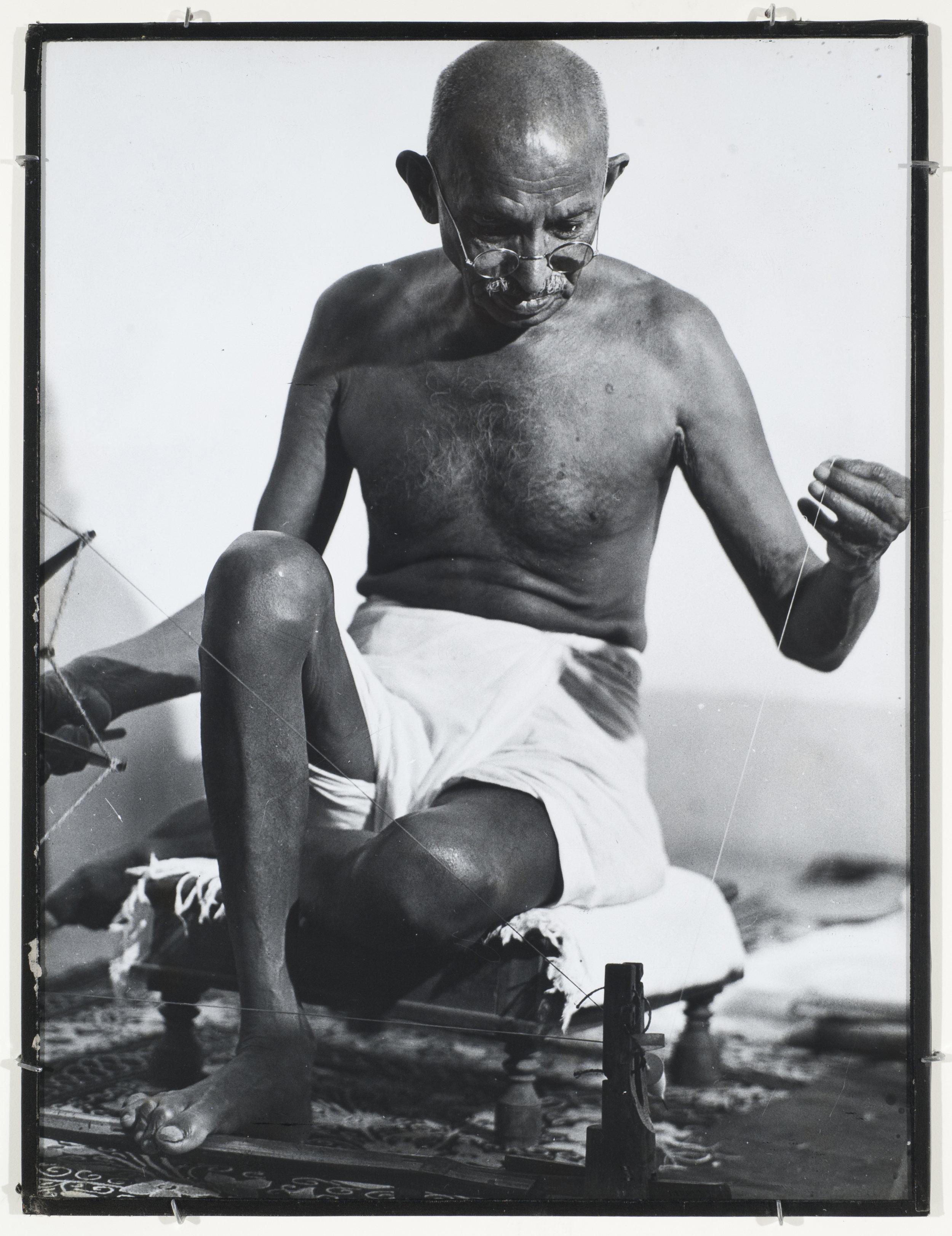 Gandhi Spinning, India, 1946