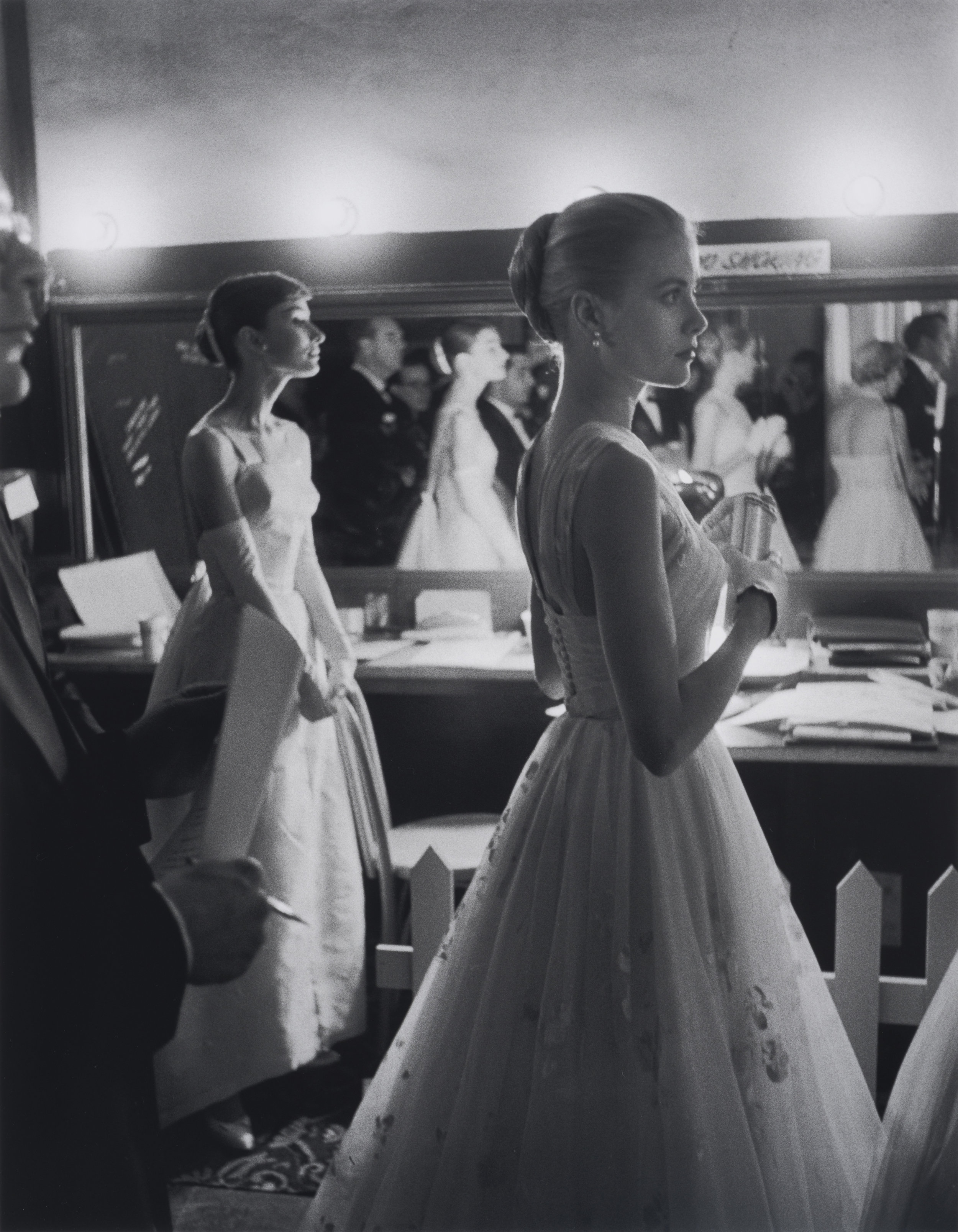 Audrey Hepburn & Grace Kelly Waiting Backstage, 1956