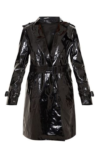 Vinyl Black Trench Coat - Score major Matrix Looks with this chic and trendy waterproof coat.