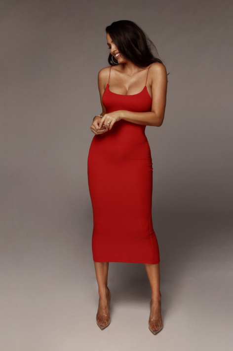 Lady in Red - Spaghetti Strapped Midi Dress fit for a queen