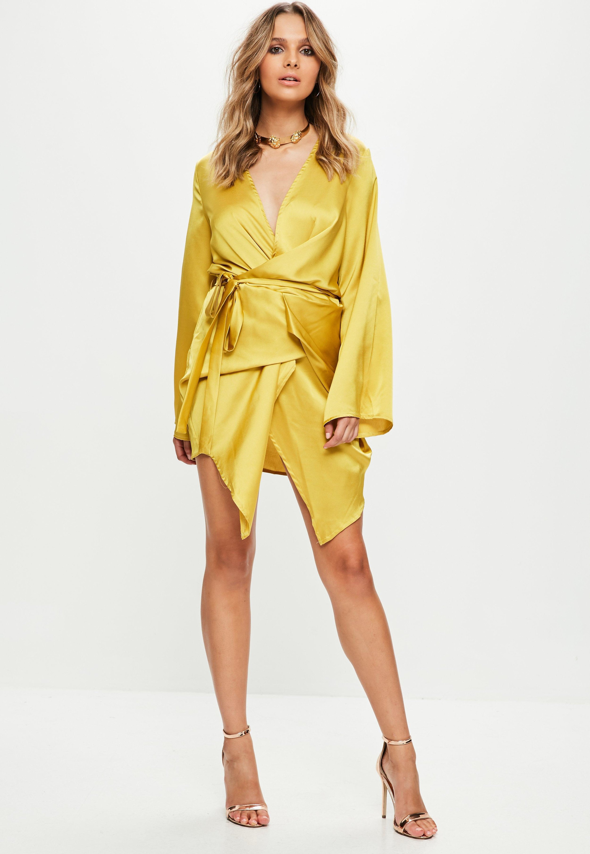 Women's Yellow Silky Kimono Shift Dress