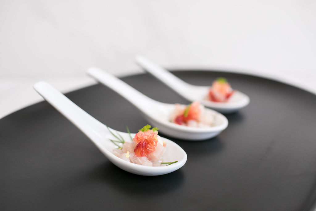 C-King fish ceviche, grapefruit salsa, soft herbs, finger lime on spoon.jpg