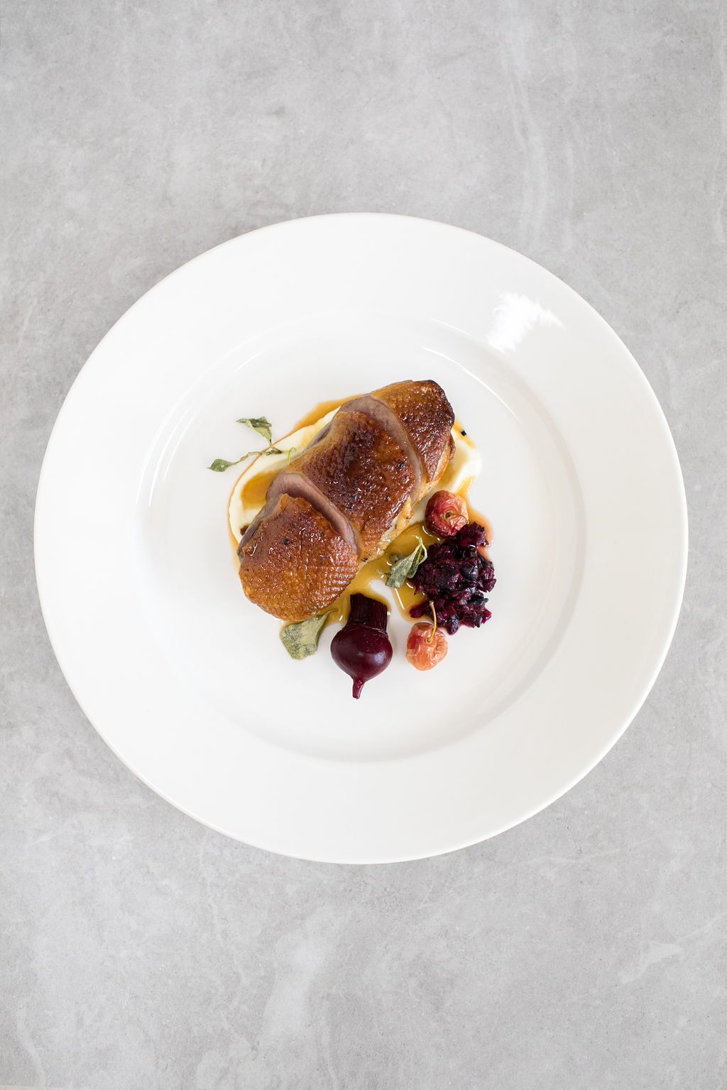 M- Pepper berry duck, pickled beetroot, fried salt bush, muntries relish and crab apple(gf)2.jpg