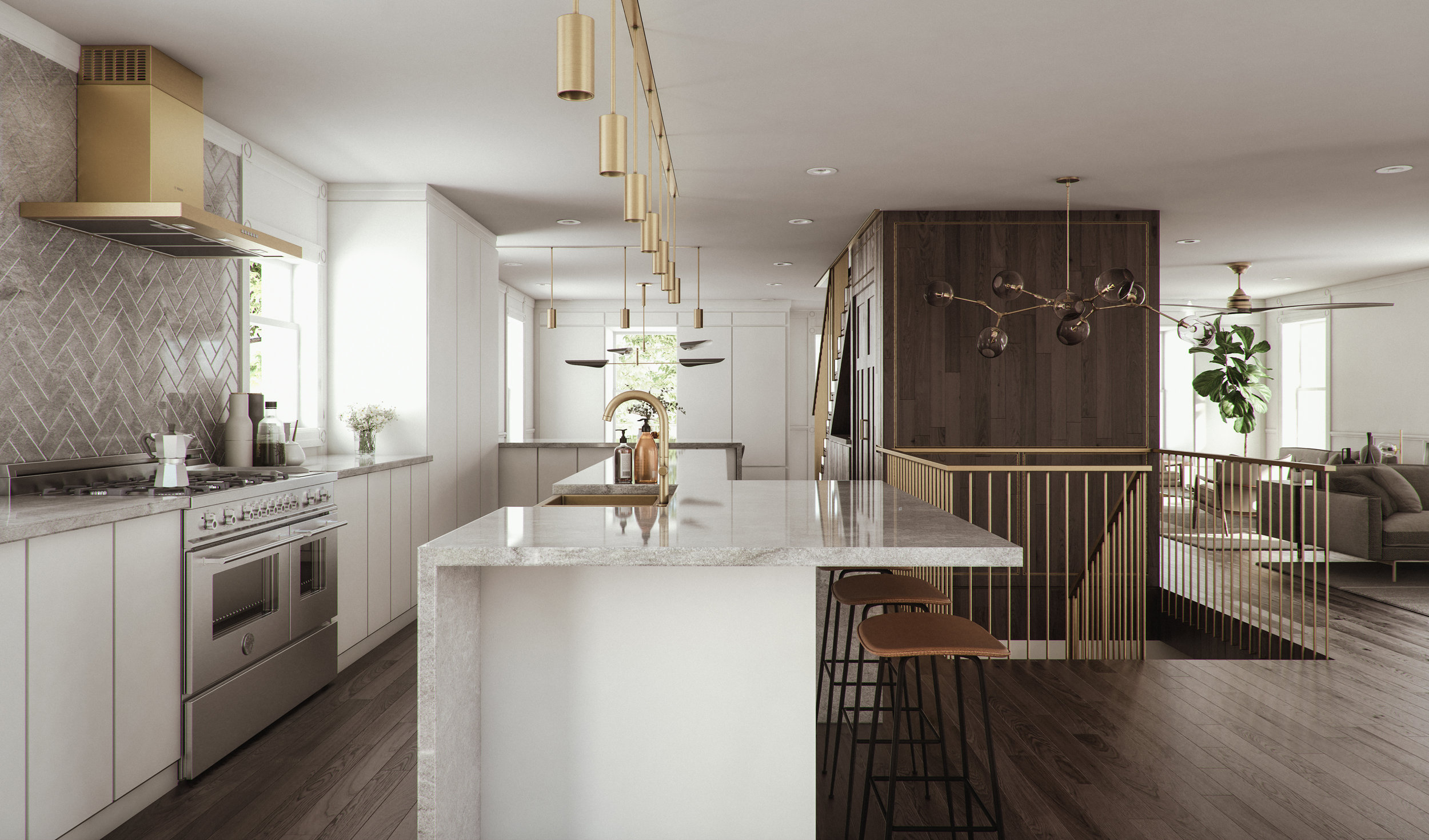 The kitchen acts as the focal point of an expansive ground floor