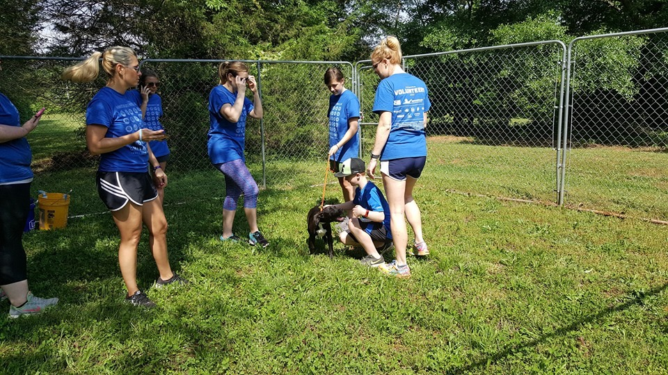 """One of our pups saying """"thank you"""" to the volunteers"""