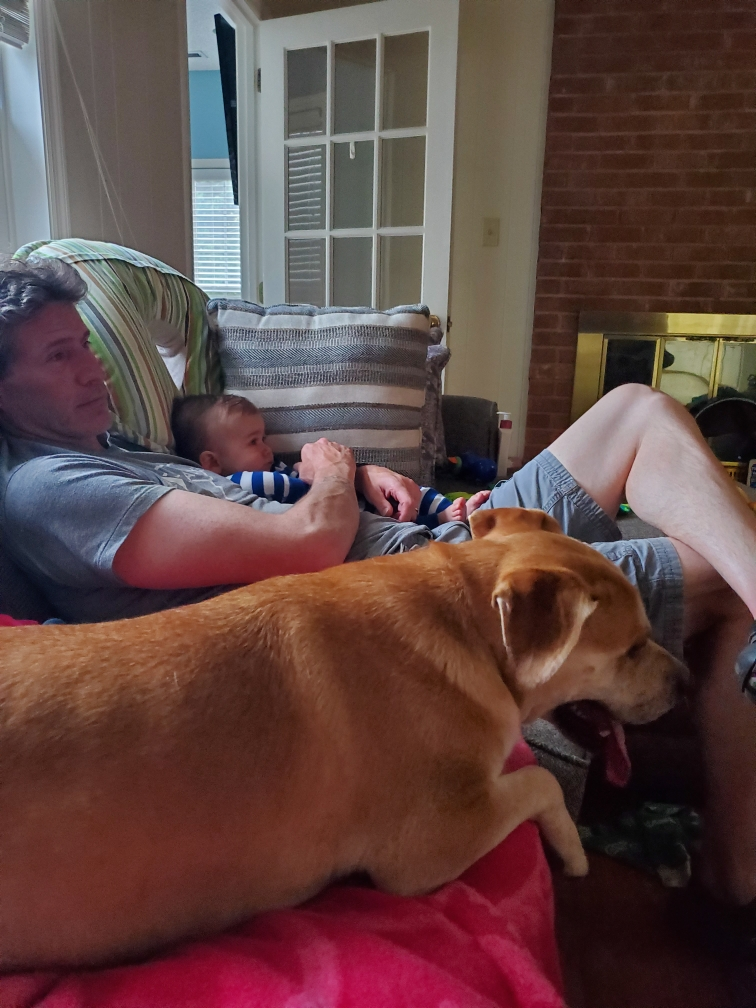 Teddy relaxing on the couch with Rob and his little boy.