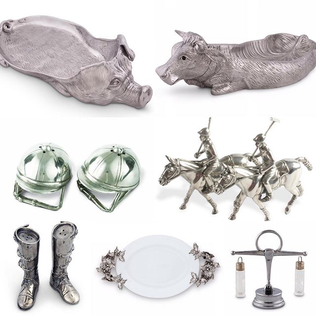 Just Arrived: Pewter at it's finest!  Beautifully detailed Cow & Pig Carving Trays, Polo & Equestrian Salt and Pepper, Butterfly Serving Trays and much more!  Stop by and let us show you these and many more home & gift items!  #ShopCottonRow #ShopPoplarCollection #Choose901 #ShopLocal #ShopMemphis #Pewter #EastMemphisGiftAndBridal #UniqueGiftsForYouAndYourHome #Equstrian #MemphisPolo #Butterfly #Entertaining