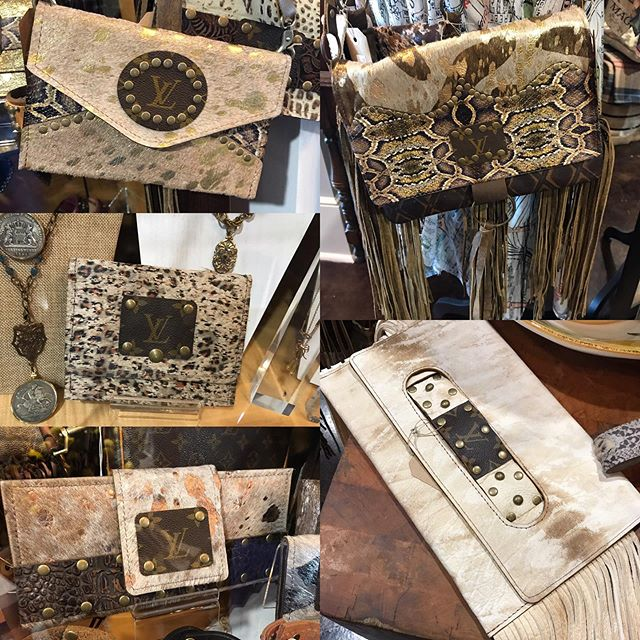 Shabby chic up-cycled LV purses have arrived! We have checkbook covers, credit card holders, strapped clutches, all sizes of crossbody bags, large totes and much more.  Stop by to see these beautiful bags & many more new arrivals!
