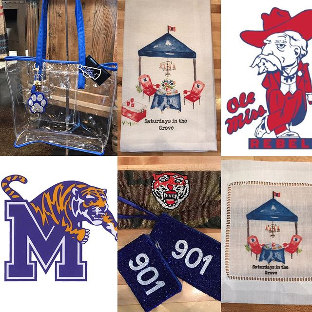 "Did someone say 🏈 Football 🏈 ? Stop by and check out our new arrivals... ""Saturday's In The Grove"" Tea-towels & Cocktail Napkins.... Clear Stadium Bags, 901 / Tiger Gear.  #CottonRowUniques #Shop901 #TigerNation #FootballInTheSouth #SaturdayGameDay #InTheGrove #SouthernTraditions #Memphis #Tigers #Rebels #Choose901 #Tailgating"