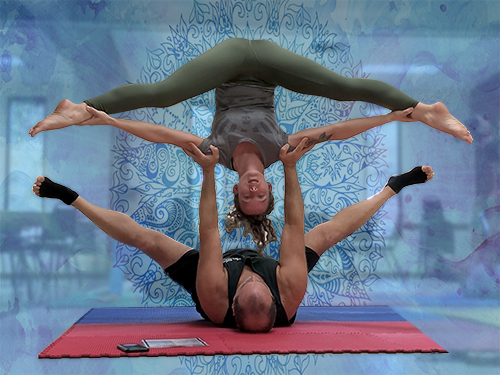 Acro Yoga - Pashi Float Straddle Pose