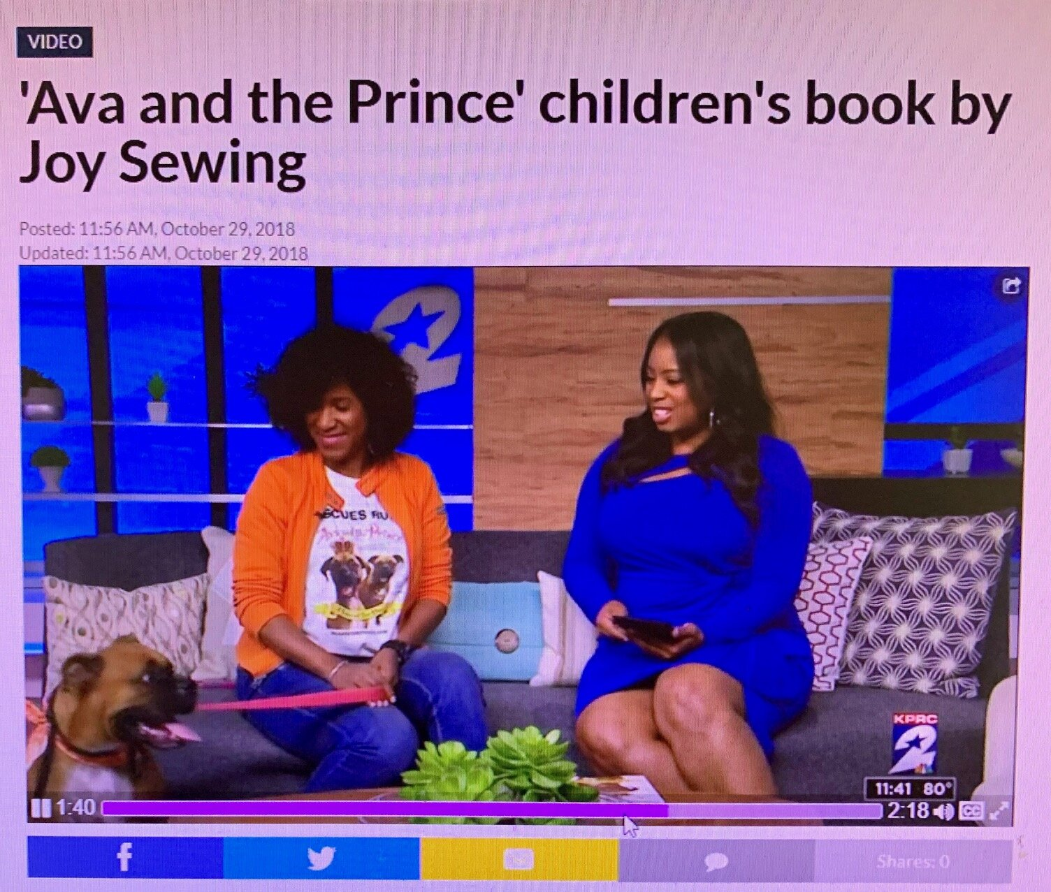 We appeared on KPRC Local 2. Click here to see the segment:  https://www.click2houston.com/'ava-and-the-prince'-children's-book-by-joy-sewing