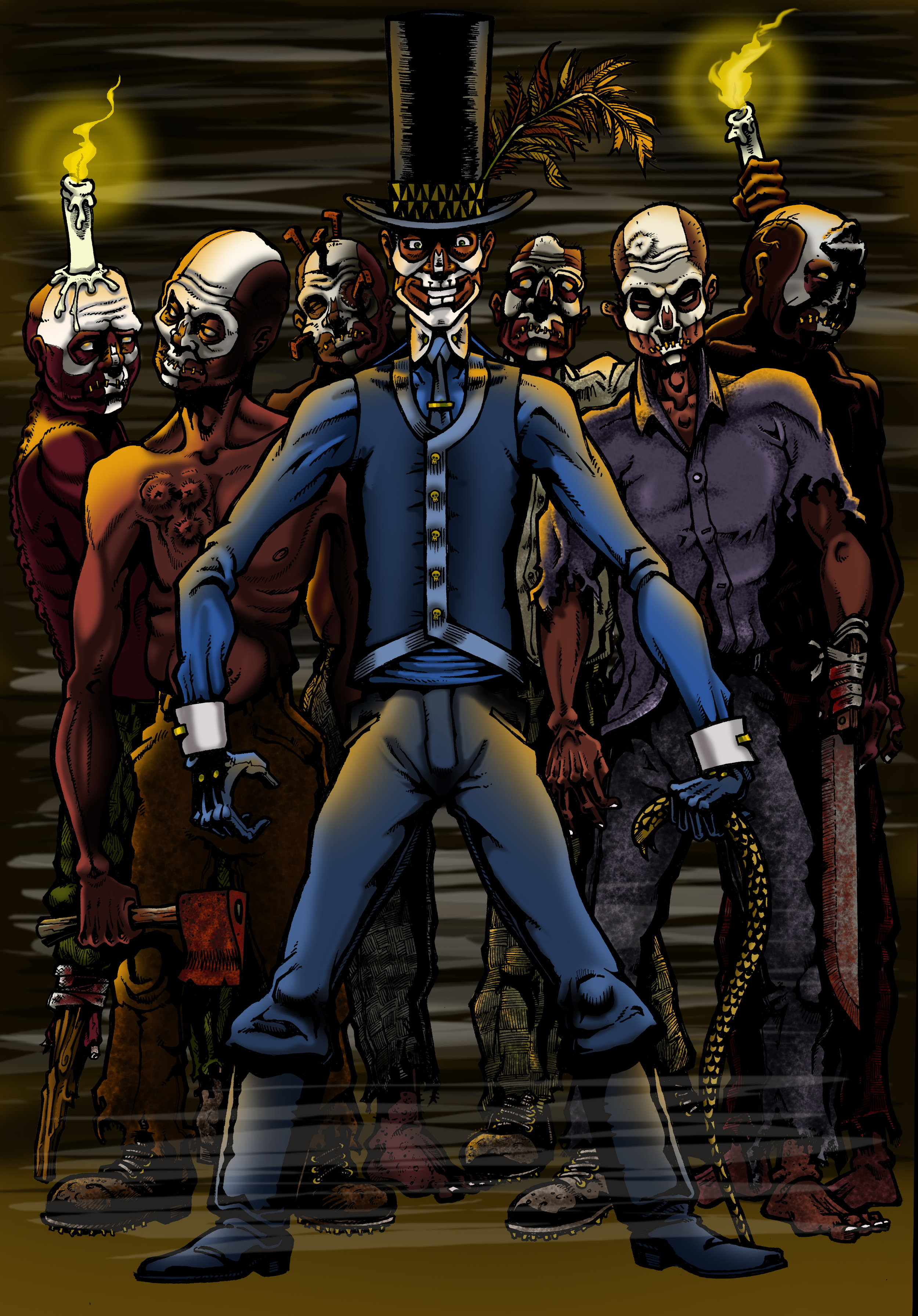 Baron Samedi. - At first, Nathan Greene became the Baron as a scheme to gain power in the African American underworld, but soon he discovers that he has actual powers in raising the dead.But way too late, he discovers that he's not running the voodoo show...