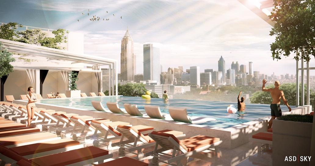 Rendering of infinity pool and rooftop lounge planned for The Interlock. Photo: ASD SKY