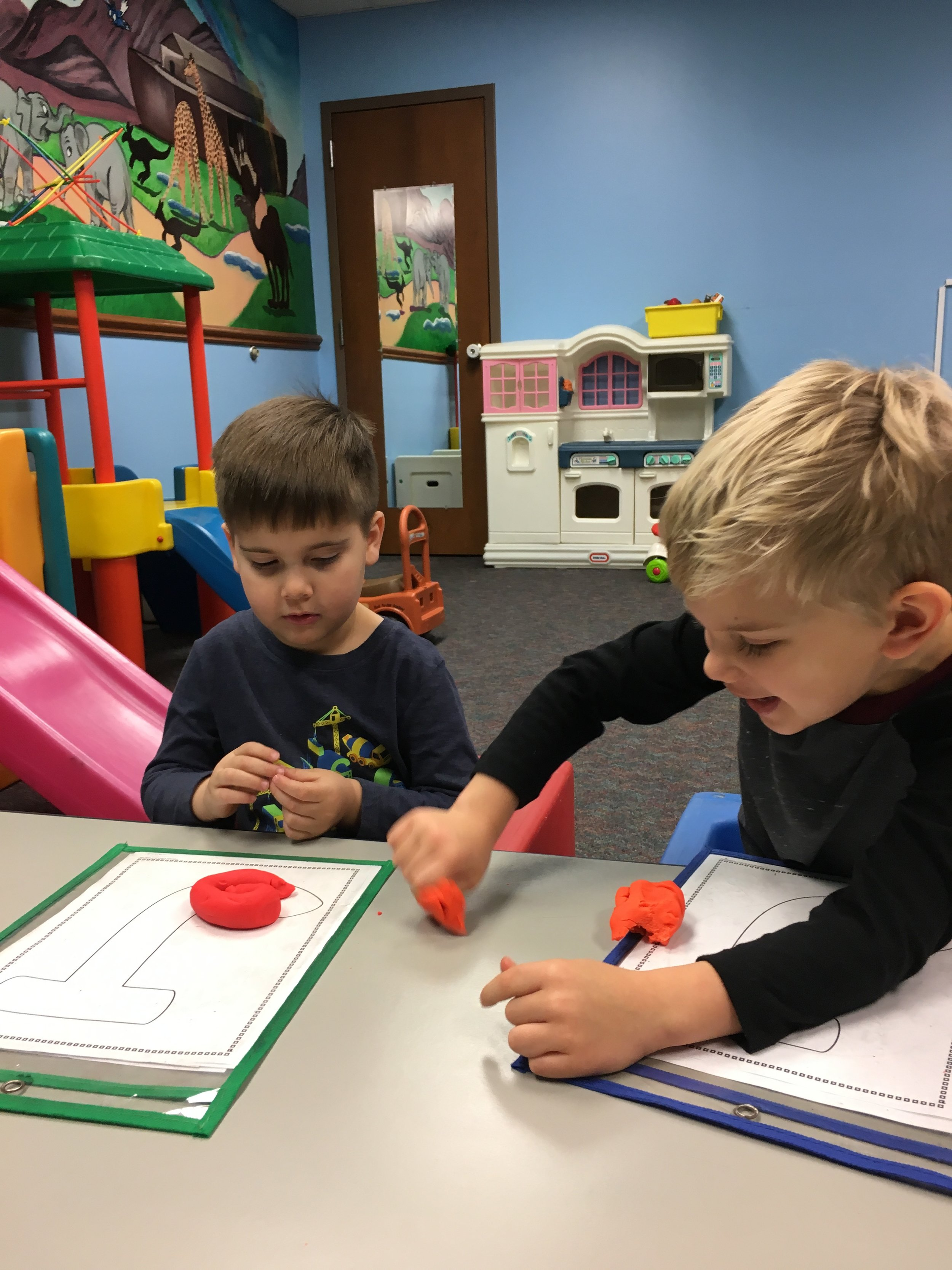 Working on Letter Recognition with Play Dough