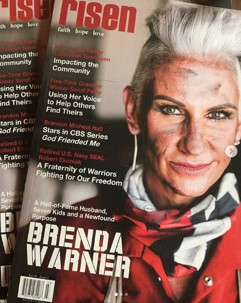 """""""A Hall-of-fame Husband, Seven Kids And A Newfound Purpose - A Gritty Conversation WithBrenda Warner."""" - Story by Tara Hitchcock and photos by Madi Robison for Risen Magazine - December 2018Read full article HERE. Excerpt:""""At 51, Brenda Warner has found a new passion. She's become a welder, a nod to her father, who spent years as a blue-collar worker at John Deere. Always a lover of metal art, Brenda now spends most of her time in her welding studio, a colorful and messy space that occupies two stalls of the Warner's garage. """"I just love it,"""" she shares. """"It's my happy place. I love coming out here and I just look forward to the next thing that comes to my mind that I know I have to make."""" We asked Kurt about his wife's new skill and he said, """"For so long, she put everything on hold so I could chase my dream. She never had a chance to dive into anything that she could call her own and anything that she could gain that self-worth from. A lot of people would think, 'ah, I'm fifty, I never did it, I guess I'll never get to do it. She said, 'I'm fifty, I've never done it. Let's do it! Let's try something new. So now, there's just a great sense of self-worth when she creates a piece and brings into the house. For me, that is the coolest part.""""Risen had the privilege of rolling up our sleeves and getting dirty with Brenda in her metal shop to talk welding, self-worth, faith and finding a new purpose."""""""
