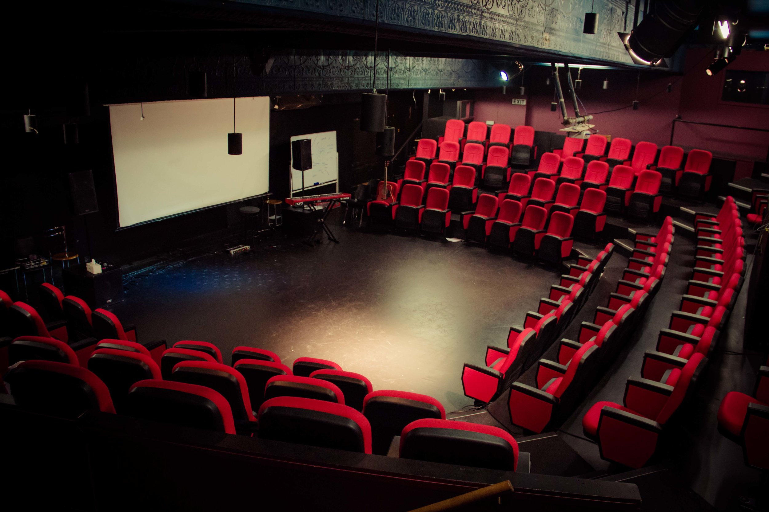 Upper Theatre - This is a somewhat smaller theatre with 107 comfortable seats and also includes a sound system and basic lighting. It is ideal for smaller acoustic sets, seminars, or teaching sessions.