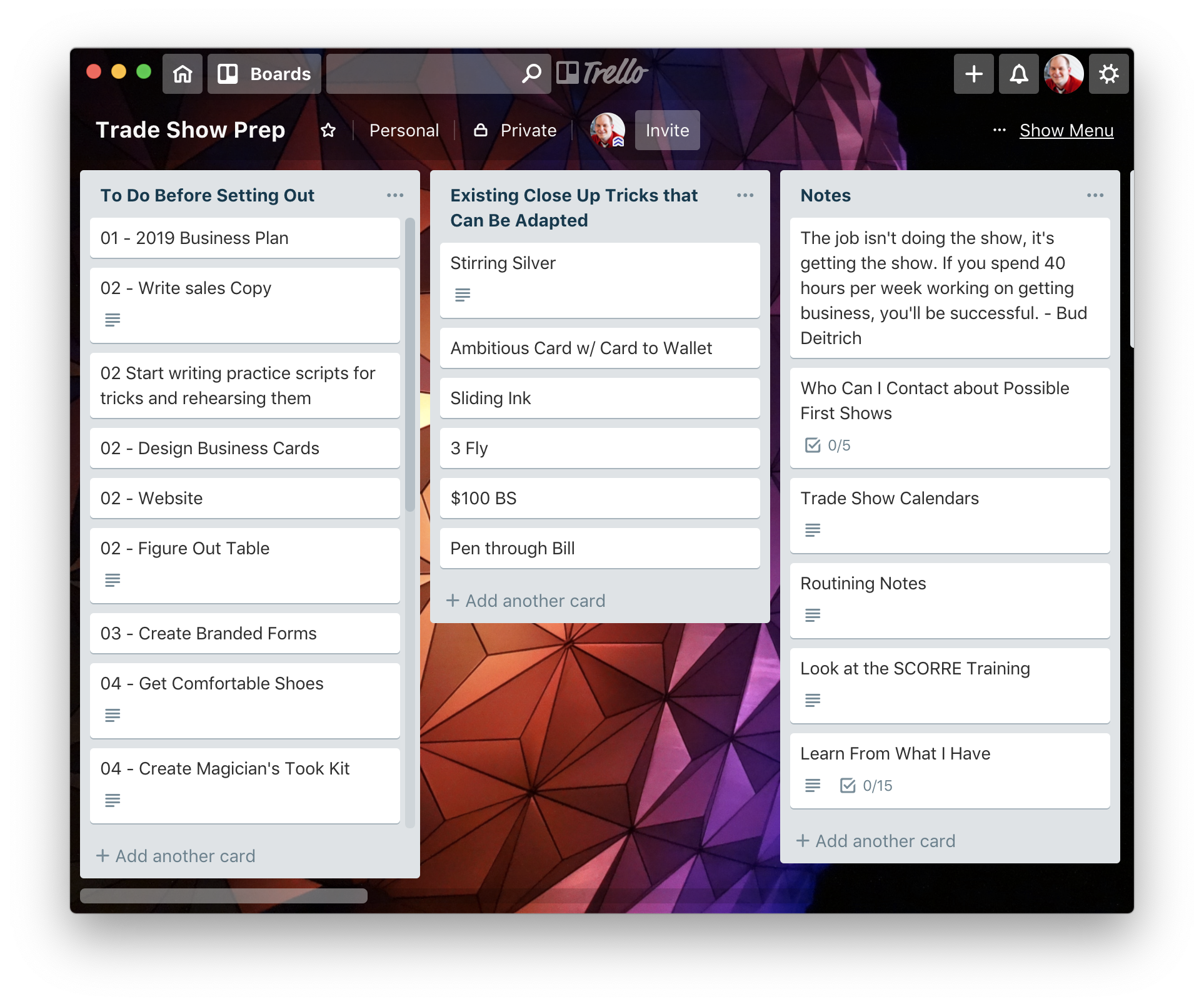 In Trello, you have boards that you can create. From there you drill down into lists, and then cards.