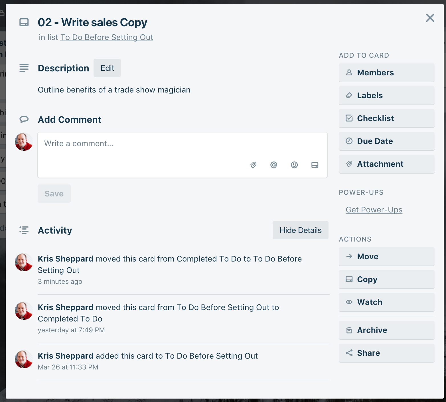 When you click on a card in Trello, this is what you get. Here you can drill down even further and really track details, adding comments, images, and even check lists.
