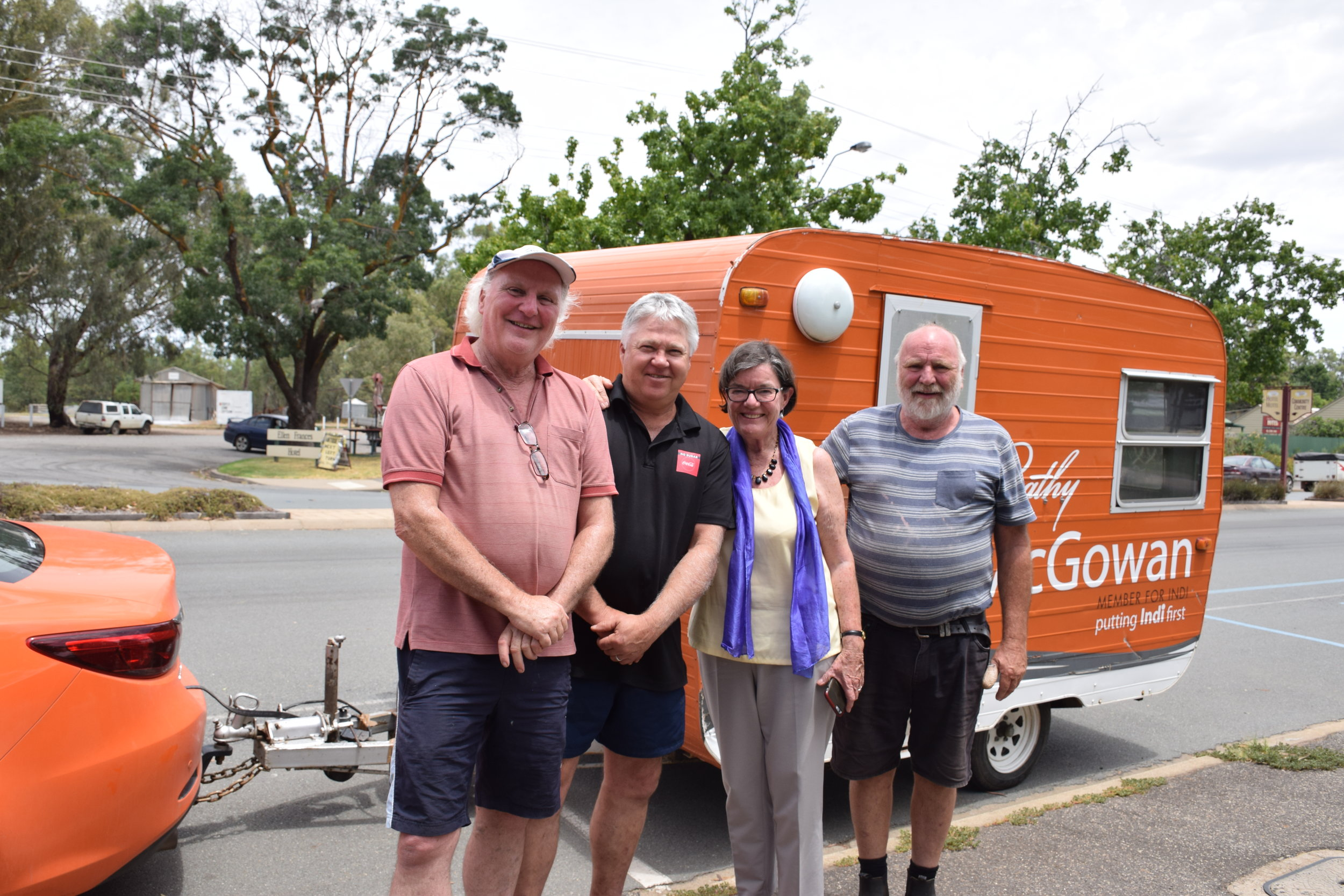 Bruce Cumming, Gary Abley, Member for Indi Cathy McGowan and Rob Cumming