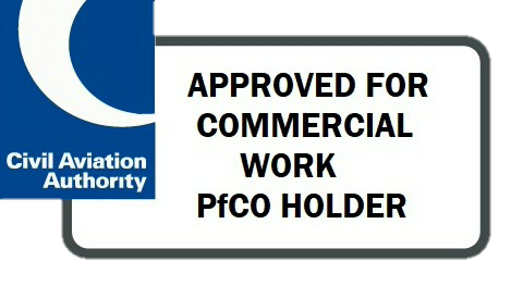 IT IS A LEGAL REQUIREMENT TO HOLD A VALID CAA PfCO TO OPERATE A DRONE COMMERCIALLY IN THE UK AND HAVE THE APPROPRIATE INSURANCE IN PLACE