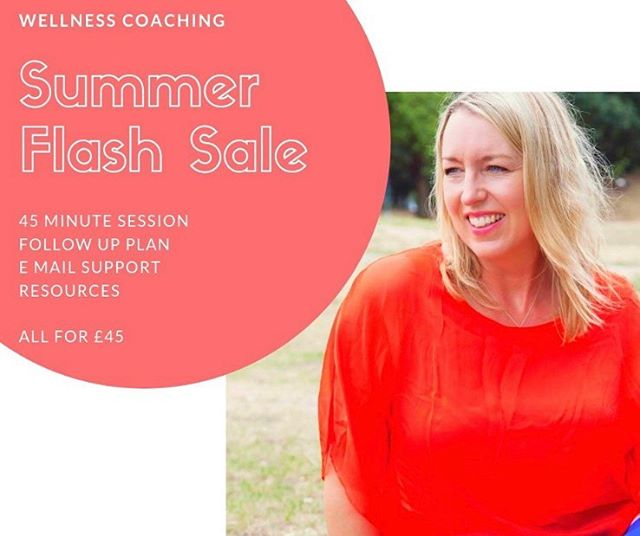 Summer flash sale!  if you are thinking about improving your health but feel overwhelmed and struggling to get started it might be time for you to consider a wellness coach. . Wellness coaching is there to help you gain the knowledge, skills, tools and confidence to reach your desired goal in small achievable steps . I am offering .... ✅ A 45 minute coaching session, ✅A follow-up email with action plan, ✅email access to me for a fortnight afterwards ✅specific resources tailored to your goals. ALL FOR £45 ⭐️ #wellnesscoaching #HealthCoaching #Health #wellbeing #LifeCoaching #HealthyLifestyle #health #holistichealthcare #LiveYourBestLife #LiveInspired #WellnessBlogger #MindbodySoul #MindbodySpirit #WellnessJourney #NourishYourself #LookWithin #wellpreneur #instafit #NourishYourself #JustBreathe #Mindset #HealthCoach #braintrainme