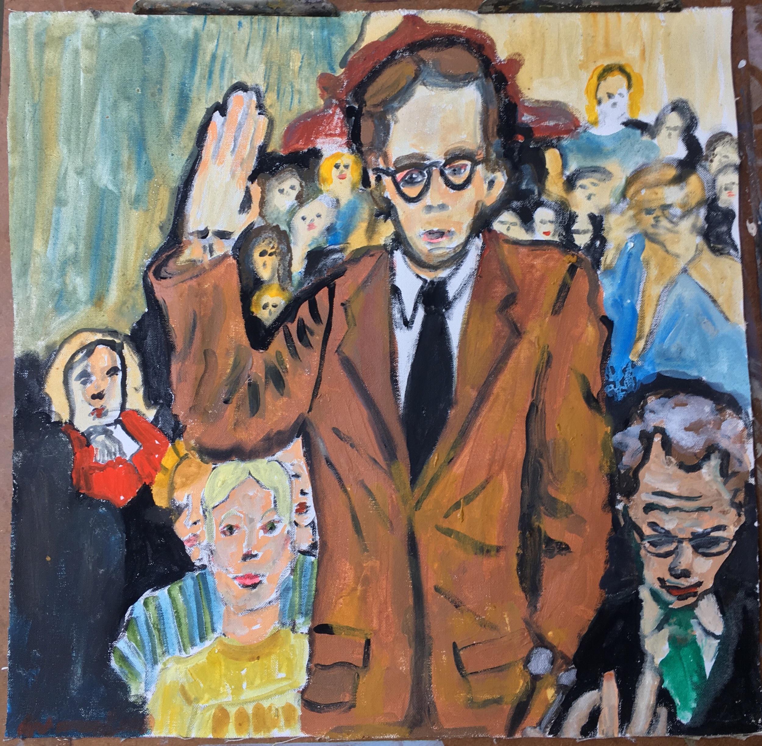 """Ami Tallman, John Dean, gouache and oil on canvas, 7"""" x 8"""", 2019  Available. Contact regarding exhibition or sale."""