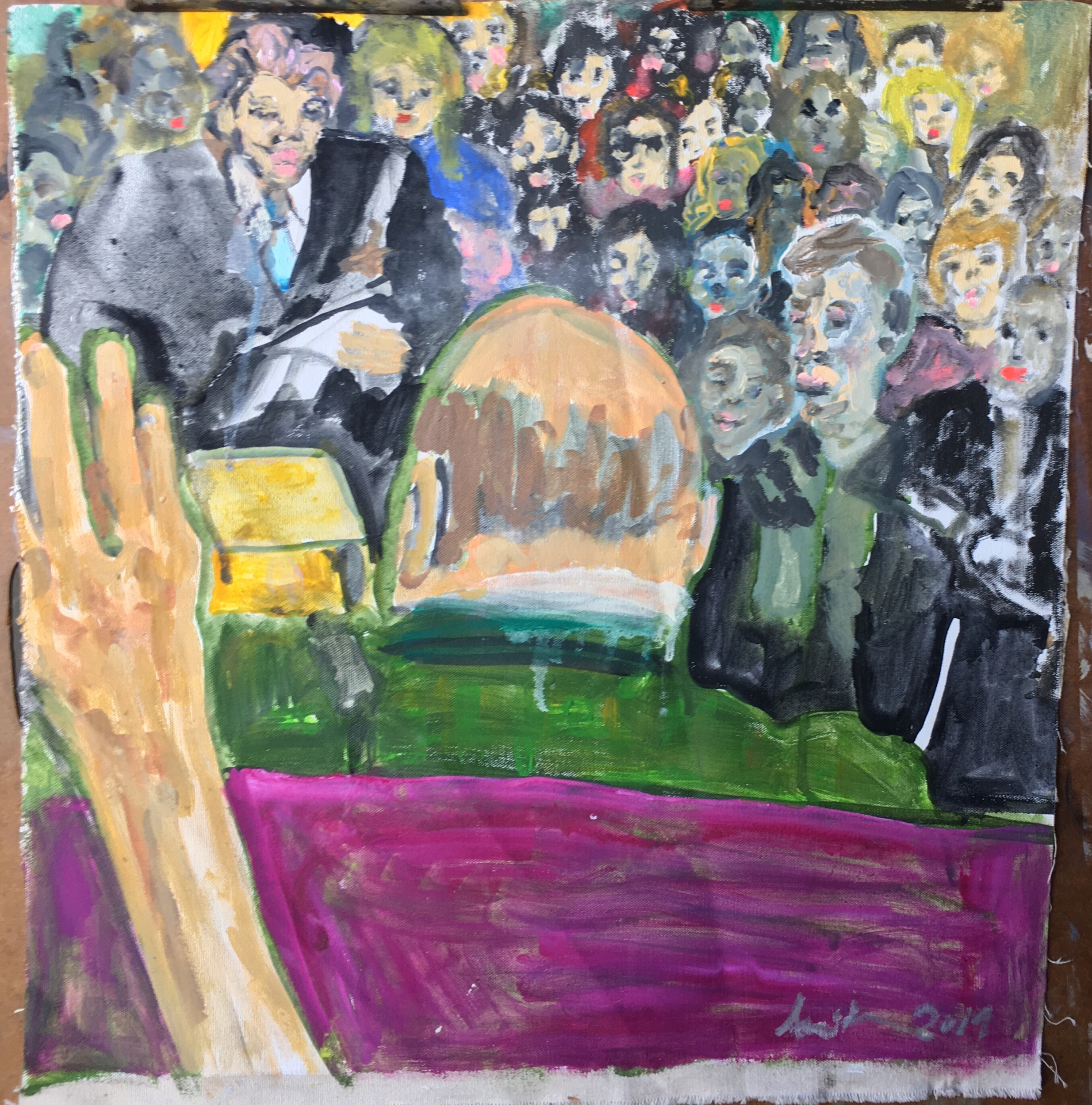 """Ami Tallman, John Dean Testimony, The Swearing In, His Lawyer, The Crowd, gouache and oil on canvas, 7.5"""" x 8"""", 2019  Available. Contact me regarding exhibition or sale."""