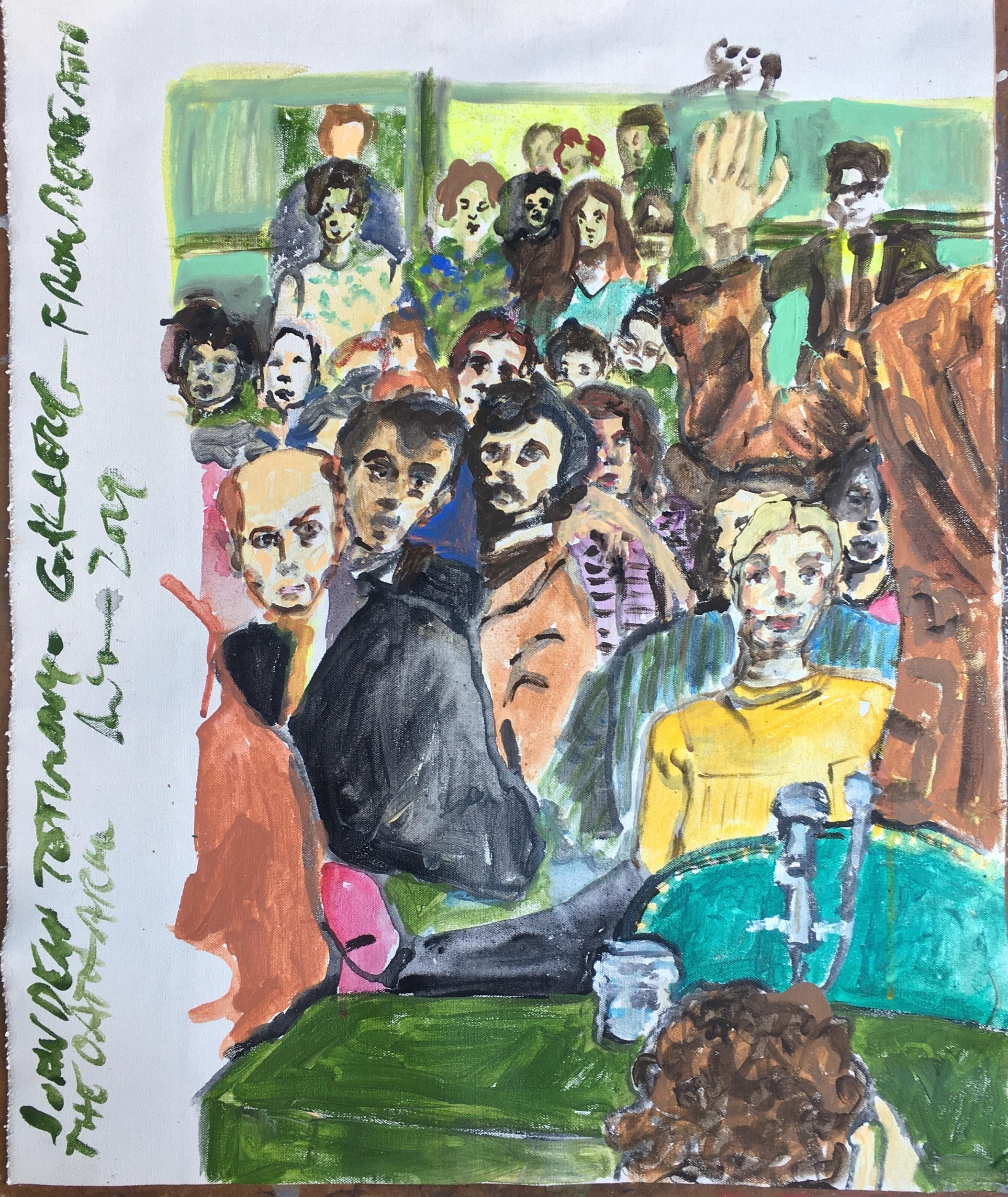 """Ami Tallman, John Dean Testimony, gouache and oil on canvas, 24"""" x 19.5"""", 2019  Available. Contact me regarding exhibition or sale."""