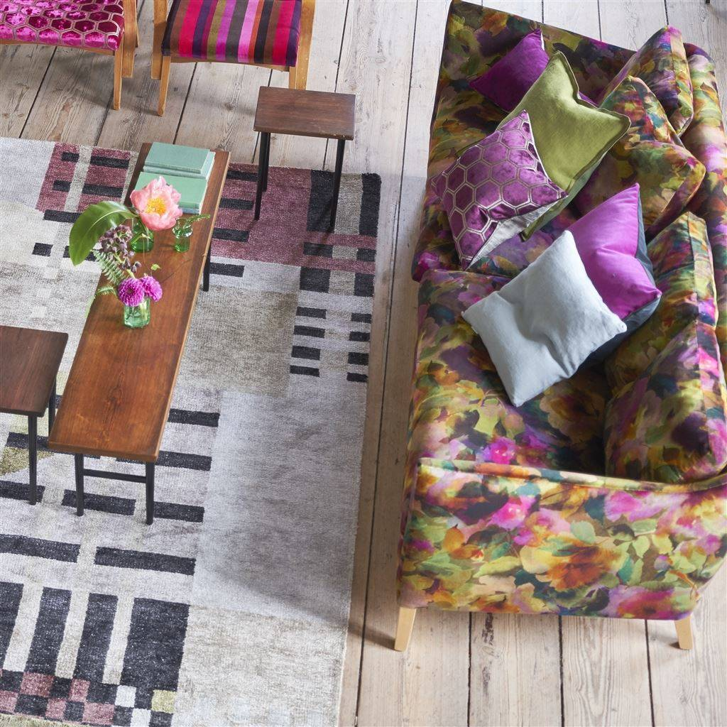 pictured: Designers Guild range - Sofa in surimono berry from the jaipur rose Collection - Rug in Chandigarh Berry - chairs in Zardozi magenta and stripe-varese berry - matching cushions in Zardozi, surimono and Cassia double faced velvet in Damson/Graphite