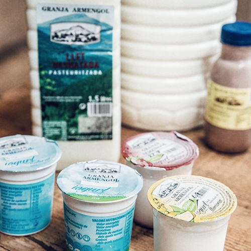 Detail 2 - Our lactic products (milk, yoghurts, etc.) are provided by Granja Armengol from the Vic area. They are top-quality products which we are specially pleased to offer.