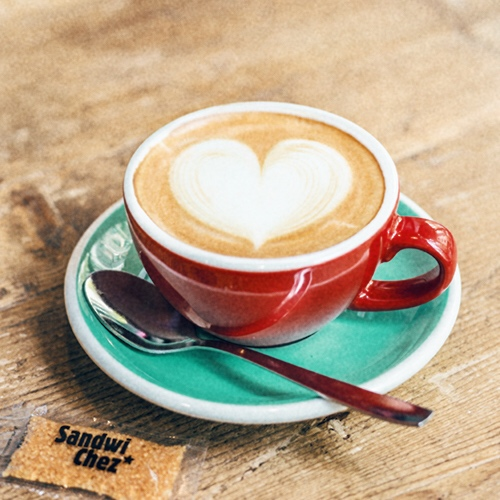 Detail 17 - All our baristas are trained when they join our team, learning to do the heart-shaped cappuccino (a SandwiChez feature!). If the coffee is not to your taste, you can give it back, we will serve it again!