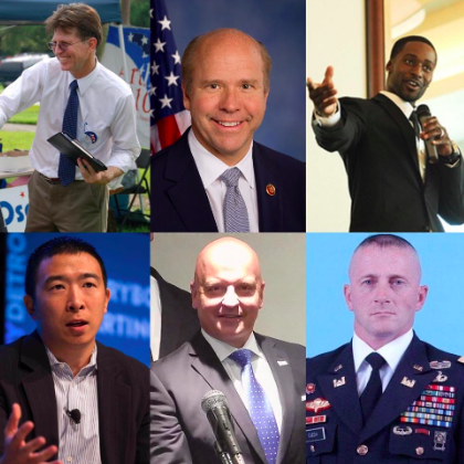From Left to Right:  Michael E Arth ,  John Delaney ,  Ken Nwadike Jr ,  Andrew Yang ,  Robby Wells  and  Richard Ojeda .