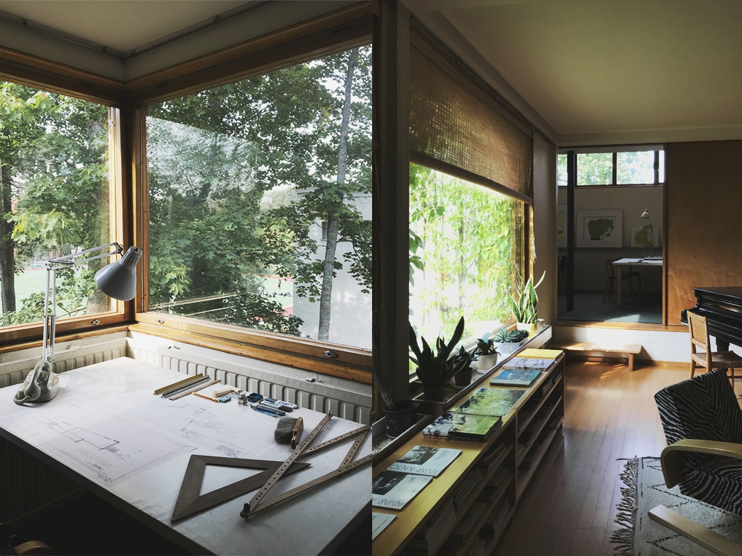 t.v. Aaltos arbetsplats. t.h. Vardagsrum