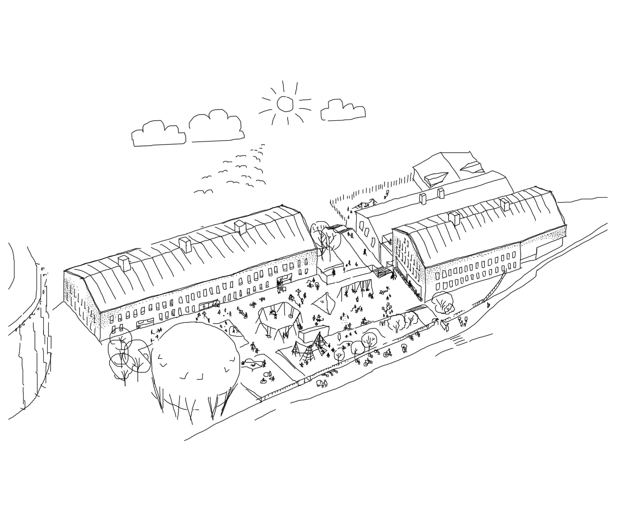 Axonometri över skolan och skolgården
