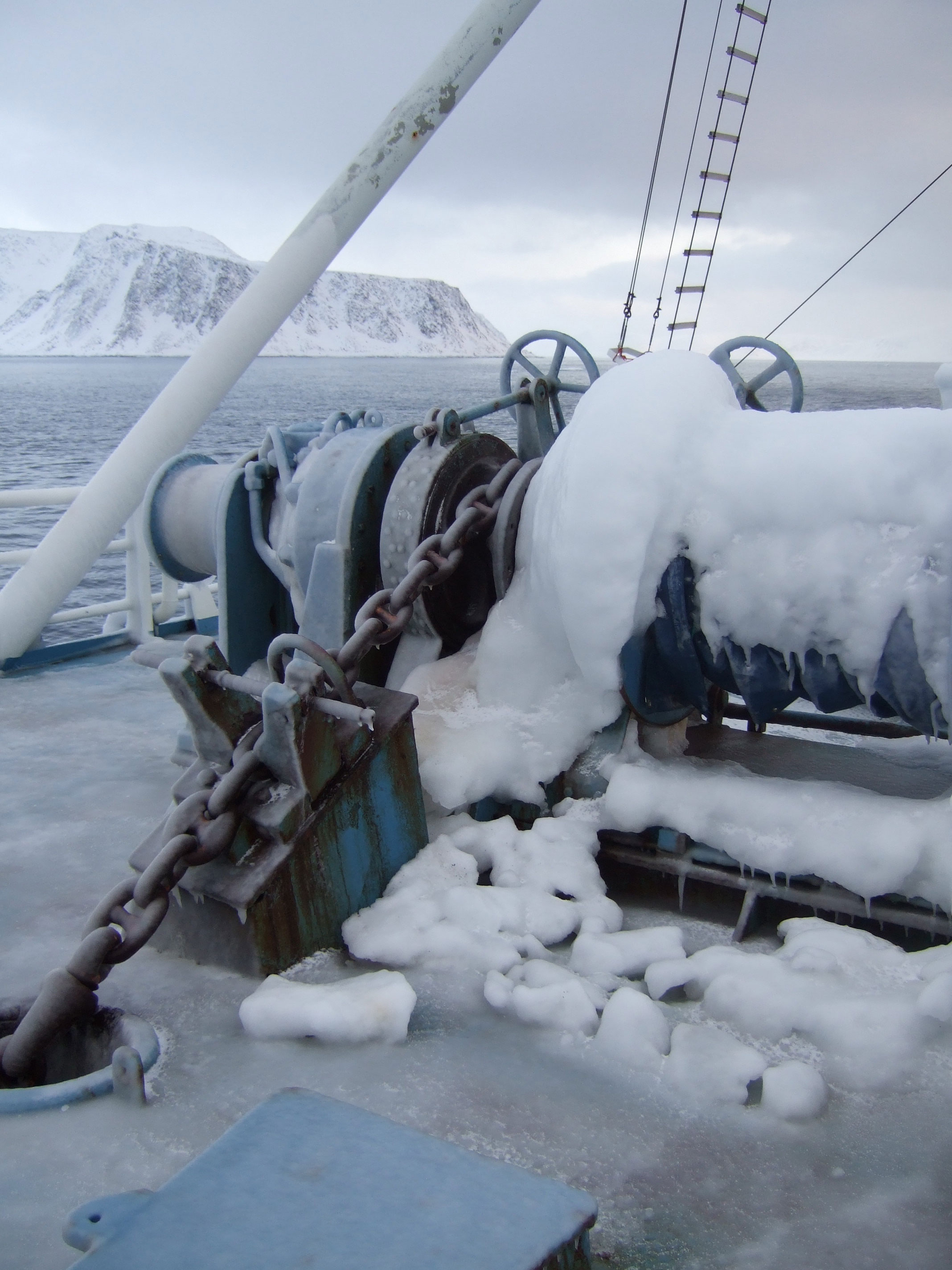Ice on the research vessel Lance