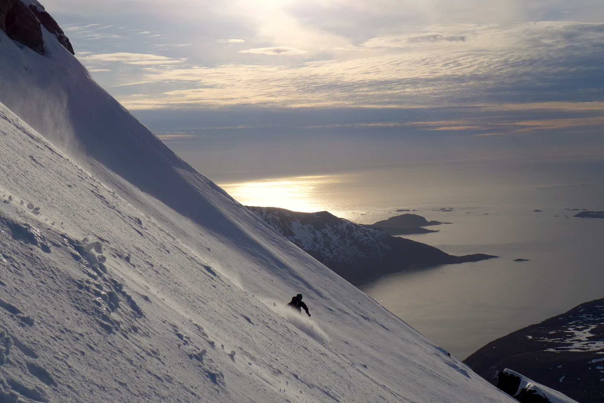 "Skiing down the slopes of the ""Storstolpan"" in Troms. A popular but risky affair. Photo: Hannah Vickers."