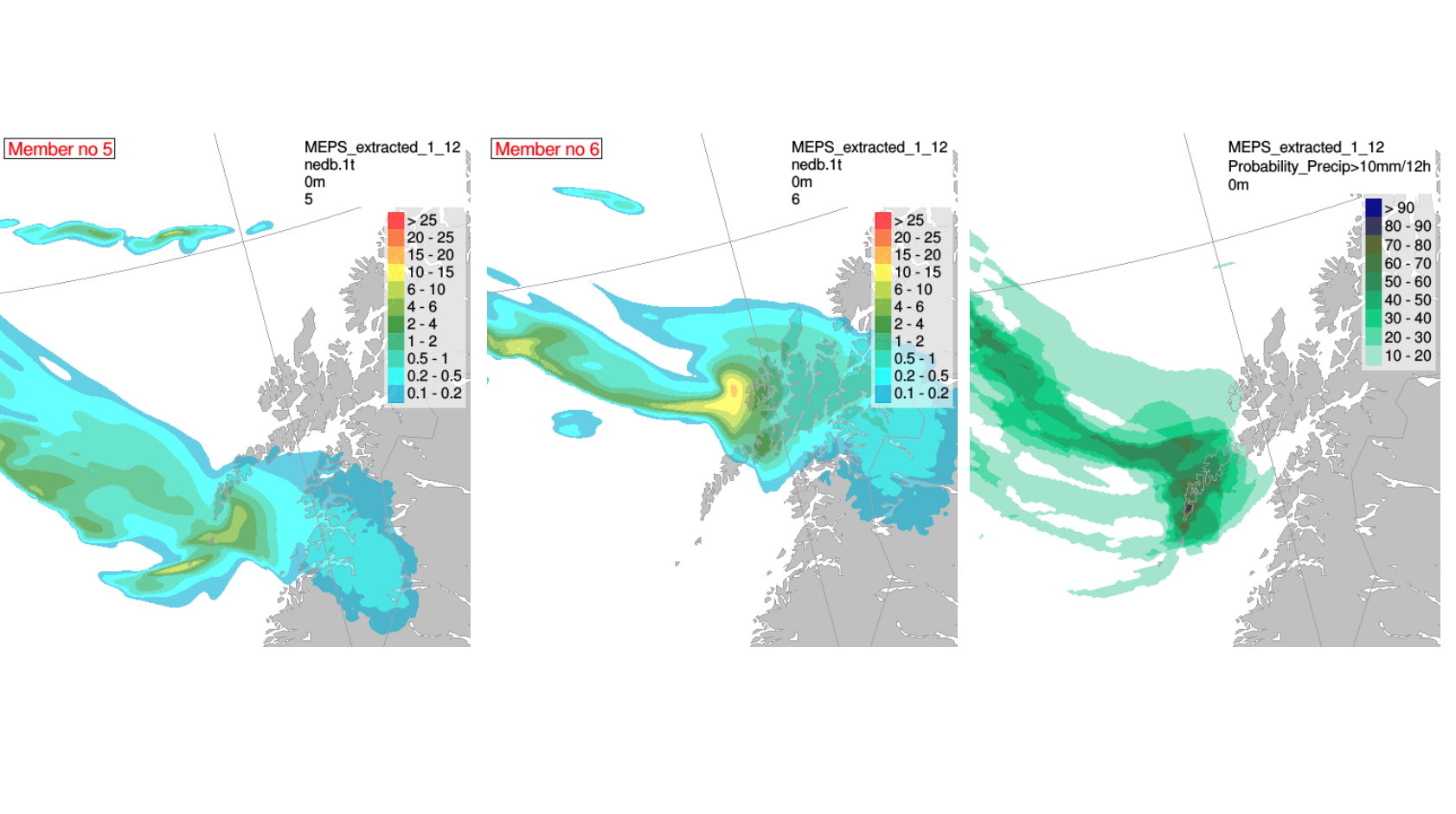 Typical large variation in the forecast for heavy snowfall across the Lofoten Islands on January 27th, 2019: The left and middle panels show precipitation for two distinct realizations (ensemble members) from an ensemble forecast. Relying on just one model realization can easily give a false confidence and no information on the uncertainty of the forecast. An ensemble prediction system gives probabilities and a more robust answer. The right panel shows the probabilities for more than 10 mm precipitation per 12 hours Illustration: MET Norway.