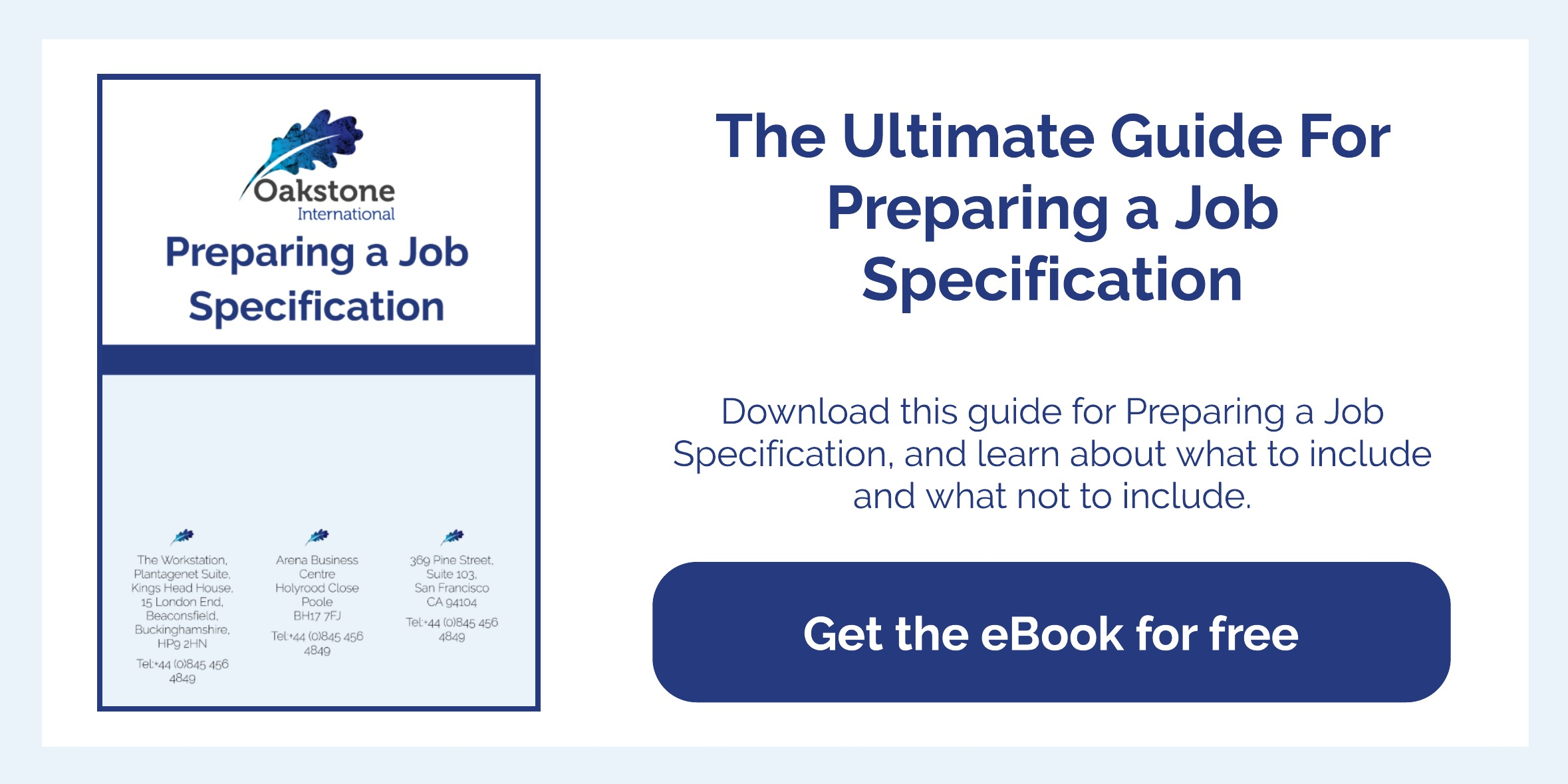 Oakstone International executive search Preparing a job specification