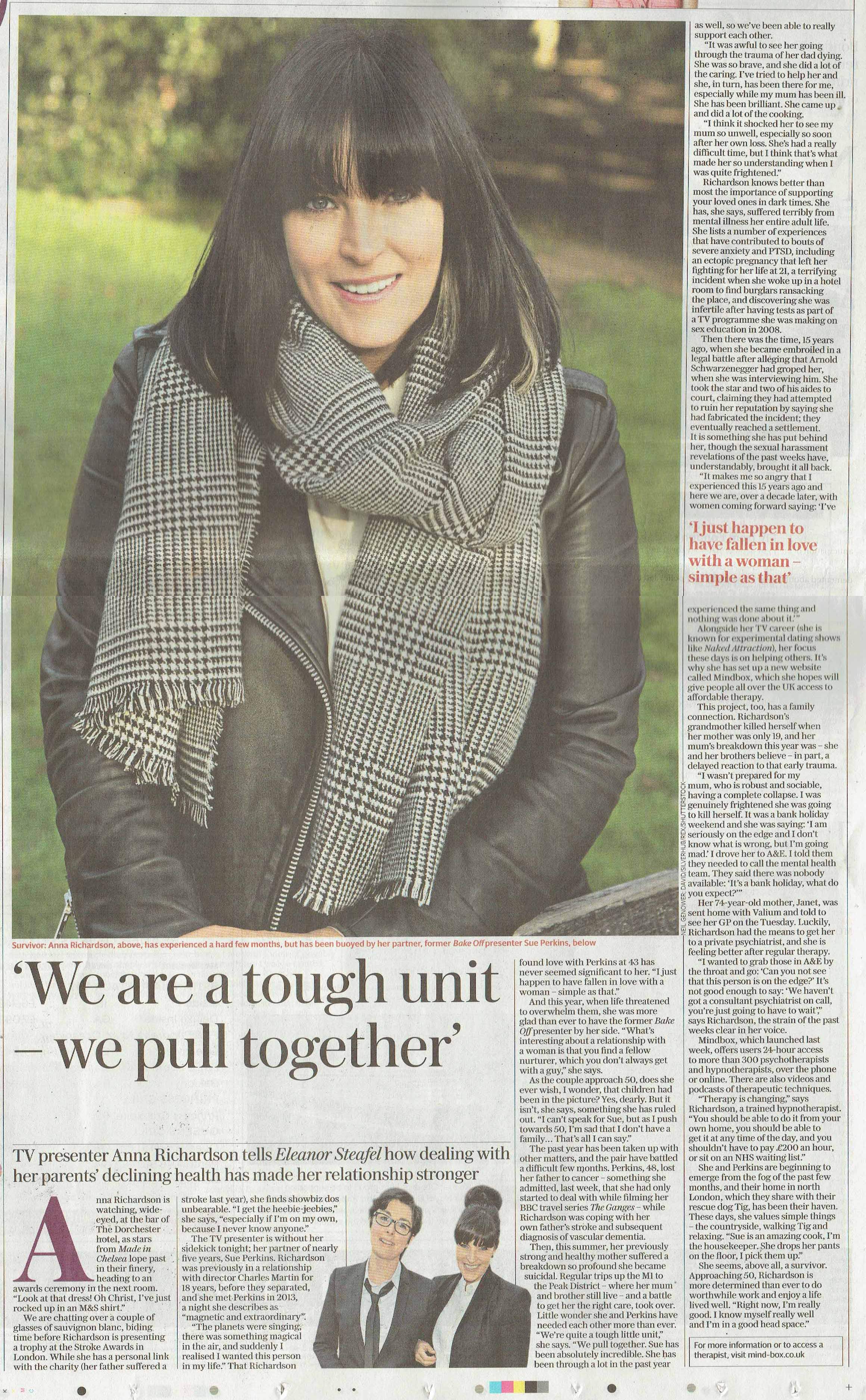 The Sunday Telegraph, Mindbox, Anna Richardson feature, 5th November