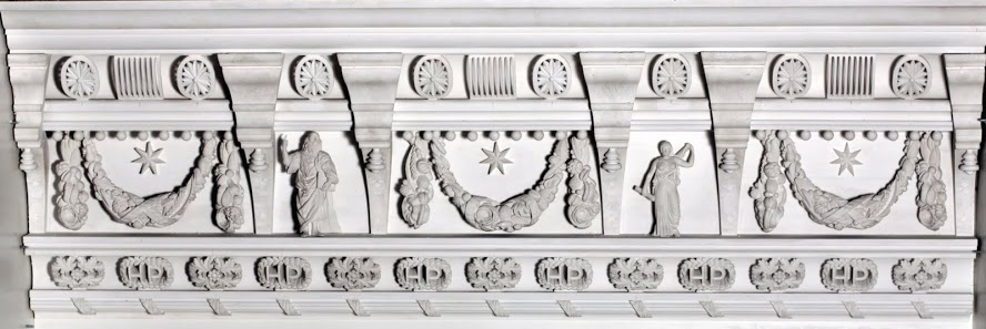 Each of the embellishment stands proud of the moulding face, creating deep, shadowy relief.