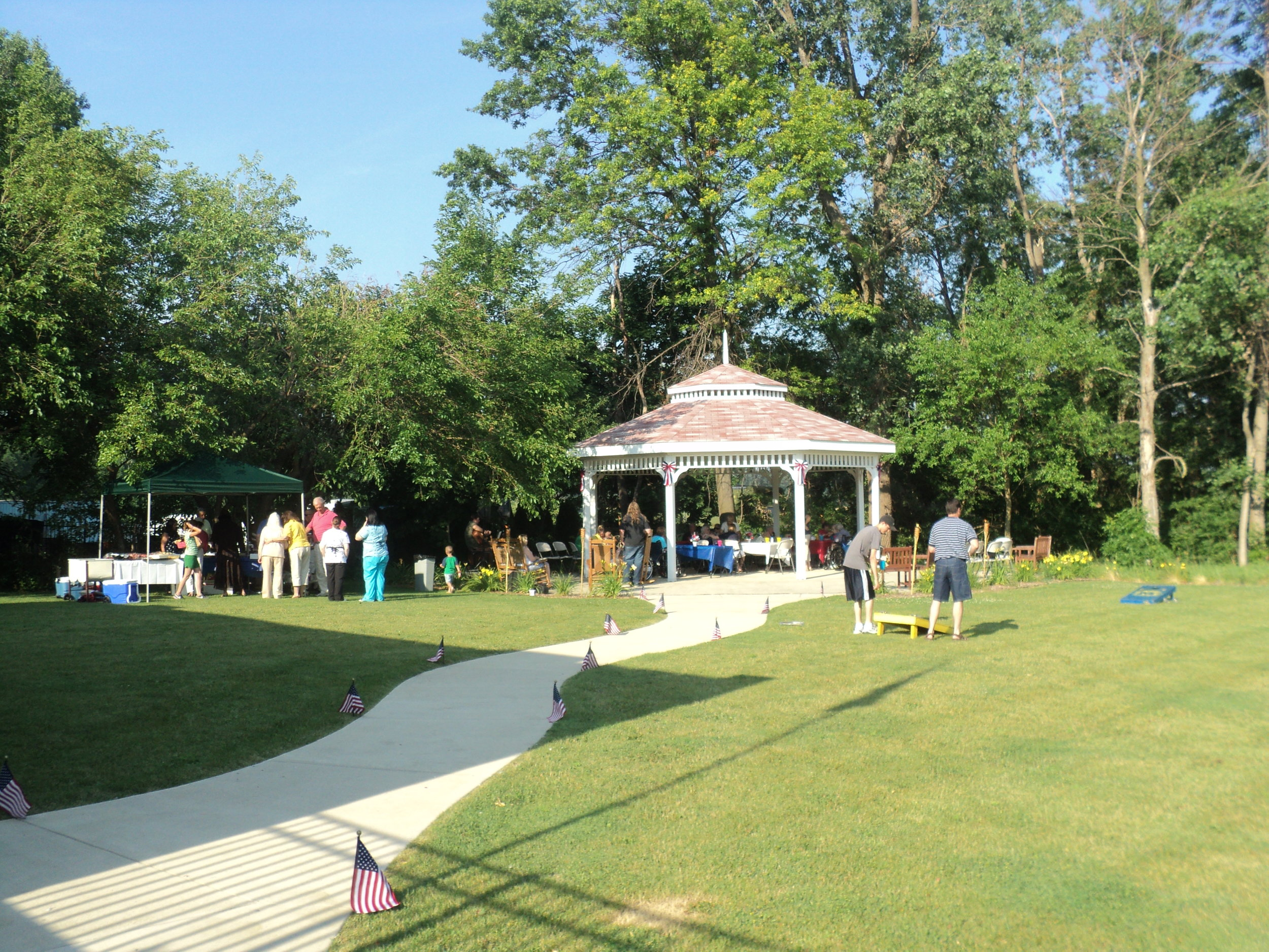 Our gazebo is the perfect spot to enjoy a bbq and shade on a warm summer's day.