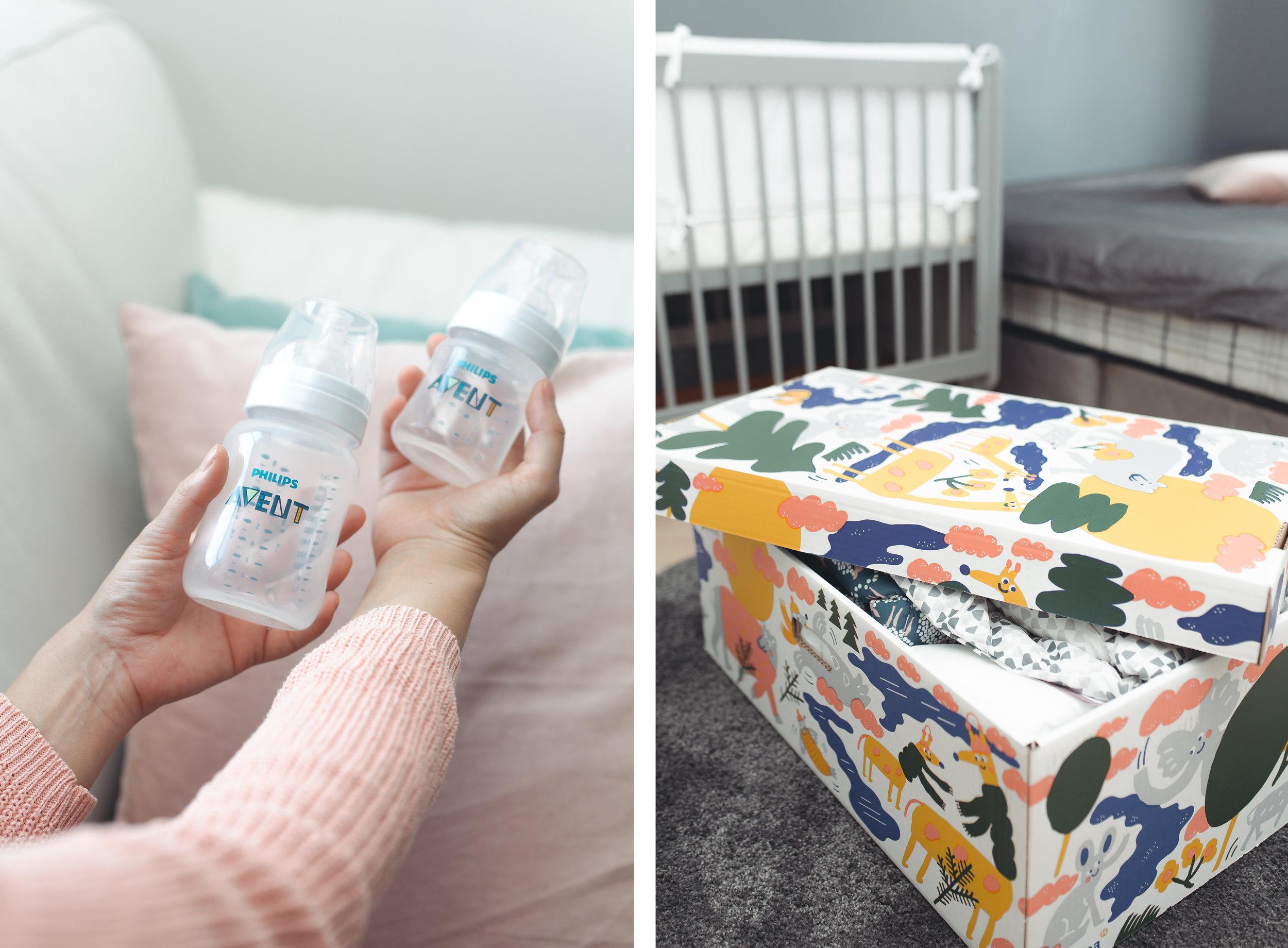Valitsimme Philips Avent tuttipullot. Äitiyspakkaus oli täynnä tarpeellisia vaatteita ja tavaroita vauvalle.