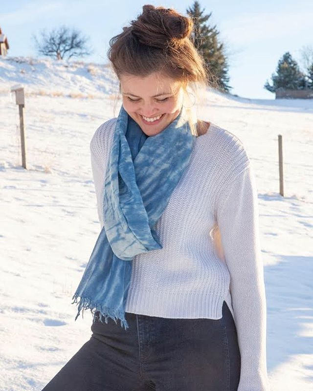 Still looking for just the right Christmas gift? Swing by @shopwildergoods or @grainhouseart and shop our scarves. 🔹 🔹 🔹 #shibori #madeinmontana #shopsmall #indigo #giftidea #japaneseshibori  #handdyed #fabricdyeing #textileart #madebyhand #japaneseart  #fairtradefashion #ethicalfashion #makersmovement #wearableart