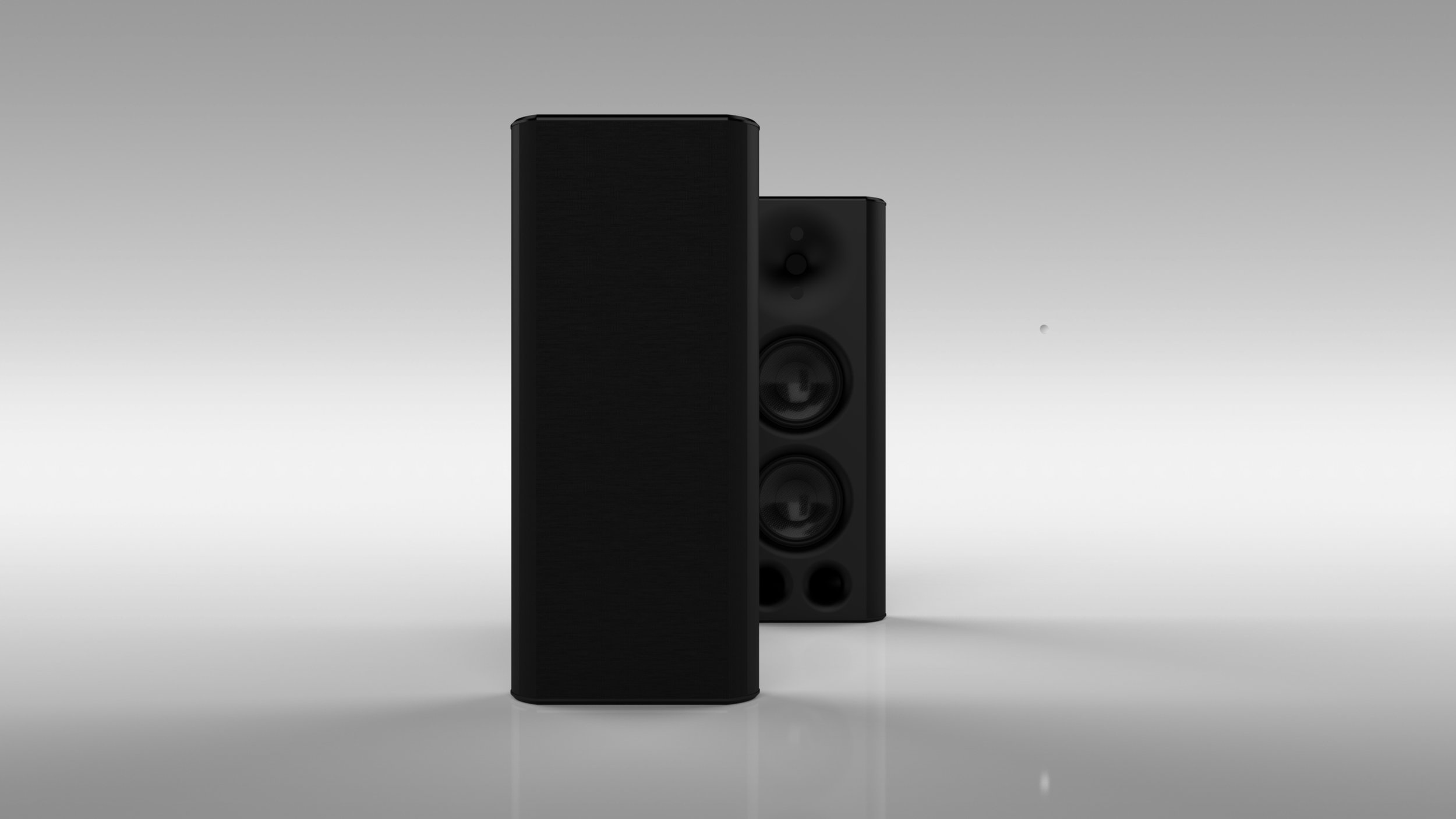 sb25 MULTIPURPOSE ON-WALL LOUDSPEAKER BLACK - FRONT VIEW