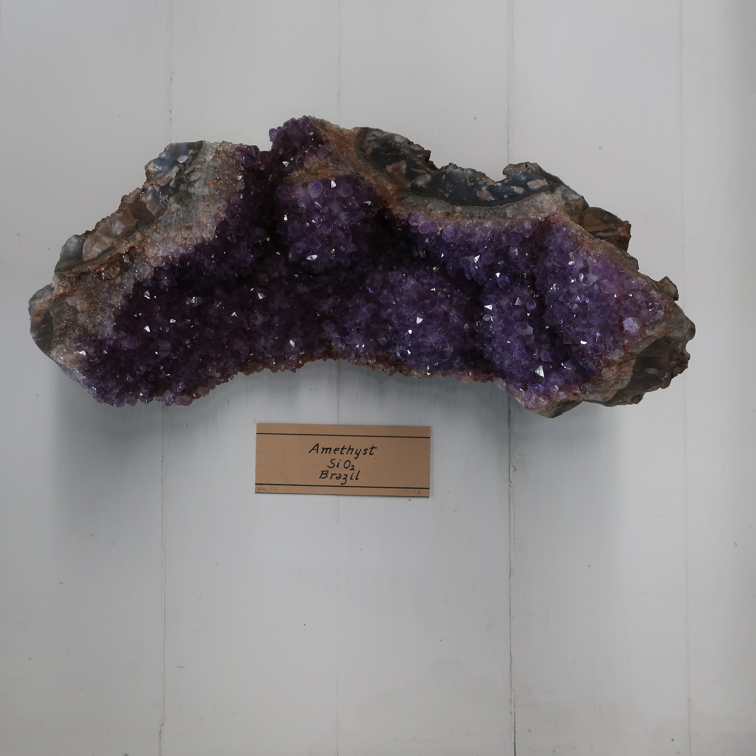 """Amethyst  yields 97.50% Silica with a trace of oxide of Iron, Alumina & manganeese. Amethyst chiefly differs from Common Quartz in its colour, which is purplish violet, supposed to be derived from a minute proportion of Iron and Manganeese which it contains. It becomes white by a long exposure to heat.""   [READ THE FULL QUARTZ ENTRY]"