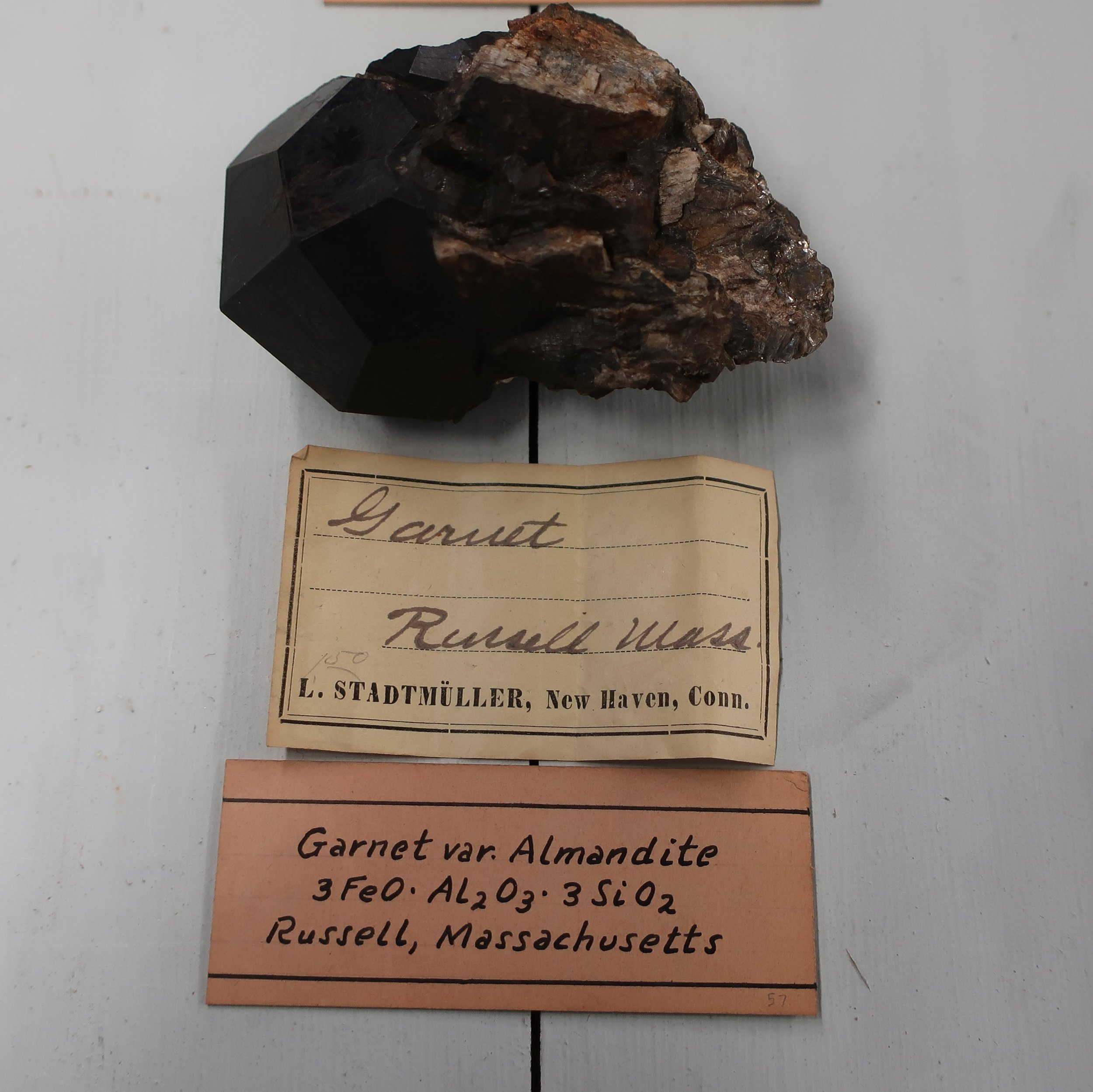 """Under this term [Garnet] are included several substances consisting principally of the same elements, but united, in variable proportions as the silicates of Lime, Iron, and Manganeese.   Almandine (Precious Garnet)  consists of 36 silica, 22 alumina, protoxide of Iron 37, Lime 3. The principal colour of this beautiful mineral is red of various shades having sometimes a tinge of yellow, or blue, it is commonly translucent often transparent, it occurs crystalized in the rhombic dodecahedron, and may sometimes be cleared, though not without difficulty, parallel to the planes of that solid, it is insoluable in acid, B.B. &. Se. it fuses into a black globule. It is much esteemed as a precious stone. The finest are brought from Ceylon and Pegu, where they occur in alluvial deposits. Bohemia produces many. It is believed to be the common Carbuncle of the ancients, tho' they also applied this term to the ruby, as well as to other gems."""
