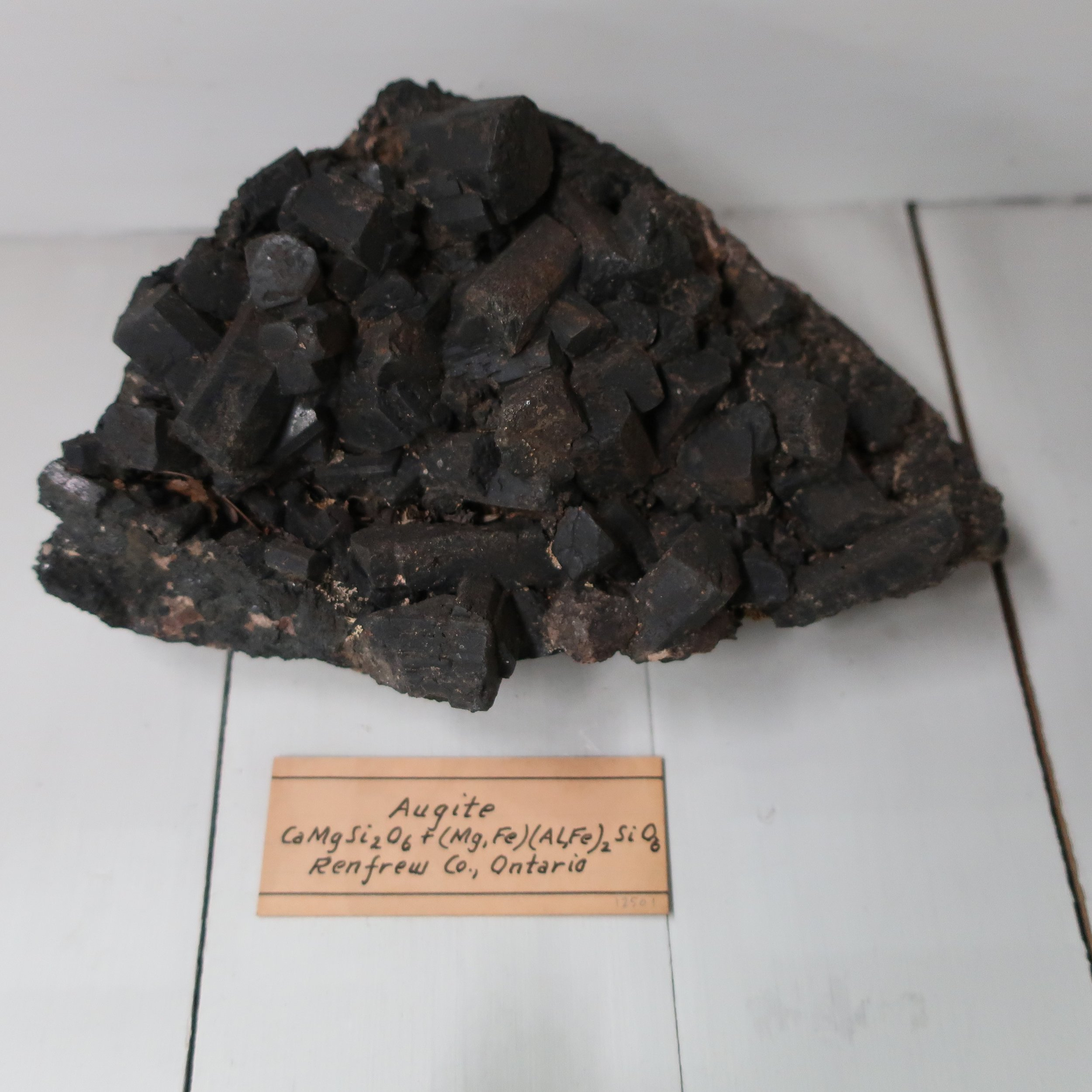 """Augite  is from the Greek meaning splendour, in allusion to the brilliancy of its crystals. It contains Silica 53. Lime 22. Iron 17. Magnesia 5. It is therefore a bisilicate of Lime, magnesia & Iron. Dr Thompson has seperated the white from the dark varieties, and discribed it as a distinct species, but as all the characters are common to both, it does not seem absolutely necessary that we should maintain the distinction. Augite occurs crystallized, also in grains, and amorphous, Its colour is white, green brown & sometimes black, with a vitrious or resinous lustre, and opake. Several varieties of Augite have been obtained artificially, by means of fusion. All varieties of this mineral seem to owe their peculiarities to the Isomorpous nature of Iron, and some of the other substances that enter into its composition, and replace each other without producing any change, in the crystaline form of the species. Augite is a common volcanic production. The debris of Monté Rossi on Aetna, I found large quantities of crystals of Augite. In the volcanic regeons of Vesuvius Stromboli and Bourbon, I found the same thing, it is said to occur in the same way in Avergne, and Tenneriffe. The crystals found in basalt, are generally larger than those found in lava, Remarkably beautiful crystals of augite have been found at Bytown upper Canada, the crystals sometimes an inch in diamiter, and 2 inches long are disseminated through calcarious Spar."""
