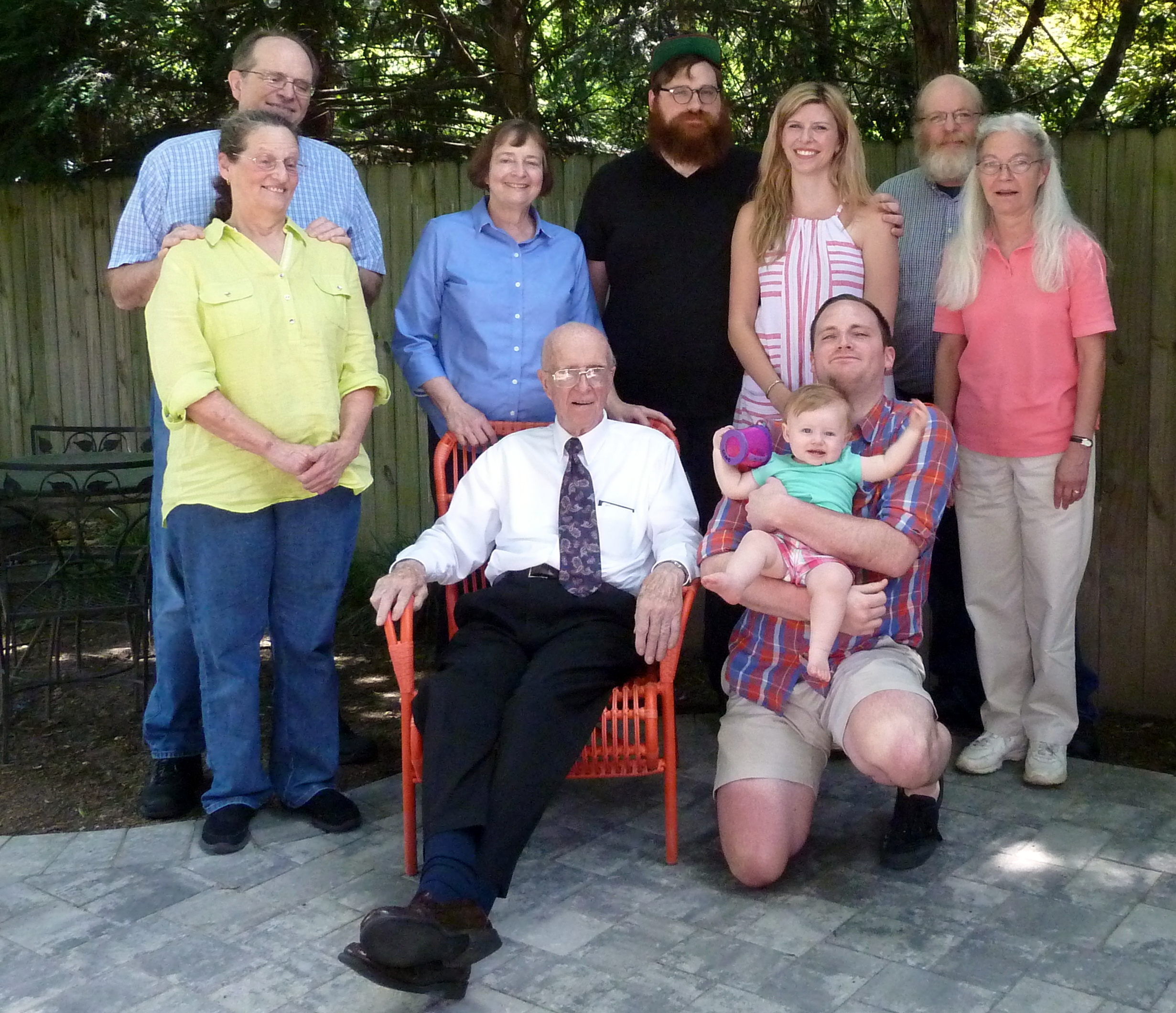 """(Left to Right) Charles """"Chuck"""" Green Jr., Leslie Green, Deborah Green, Charles Green Sr. (yup that's Charlie), Robert Green and his wife Christina, Jeff Green and his niece Olive, Clarke Green, Teddi Barclay."""