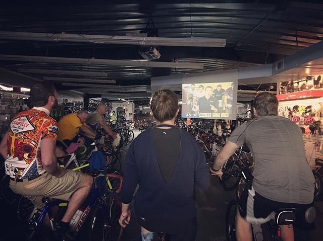 Does the winter weather and lack of daylight have you missing your group riding routine? Join us on Wednesday nights for our indoor interval training lasting until February 27 when the time changes. We start at 6pm and require you to bring your own trainer and bicycle. If you call ahead there is a possibility we have a spare trainer but they go quickly. Hope to see everyone next week. #trainer #spinning #indoor